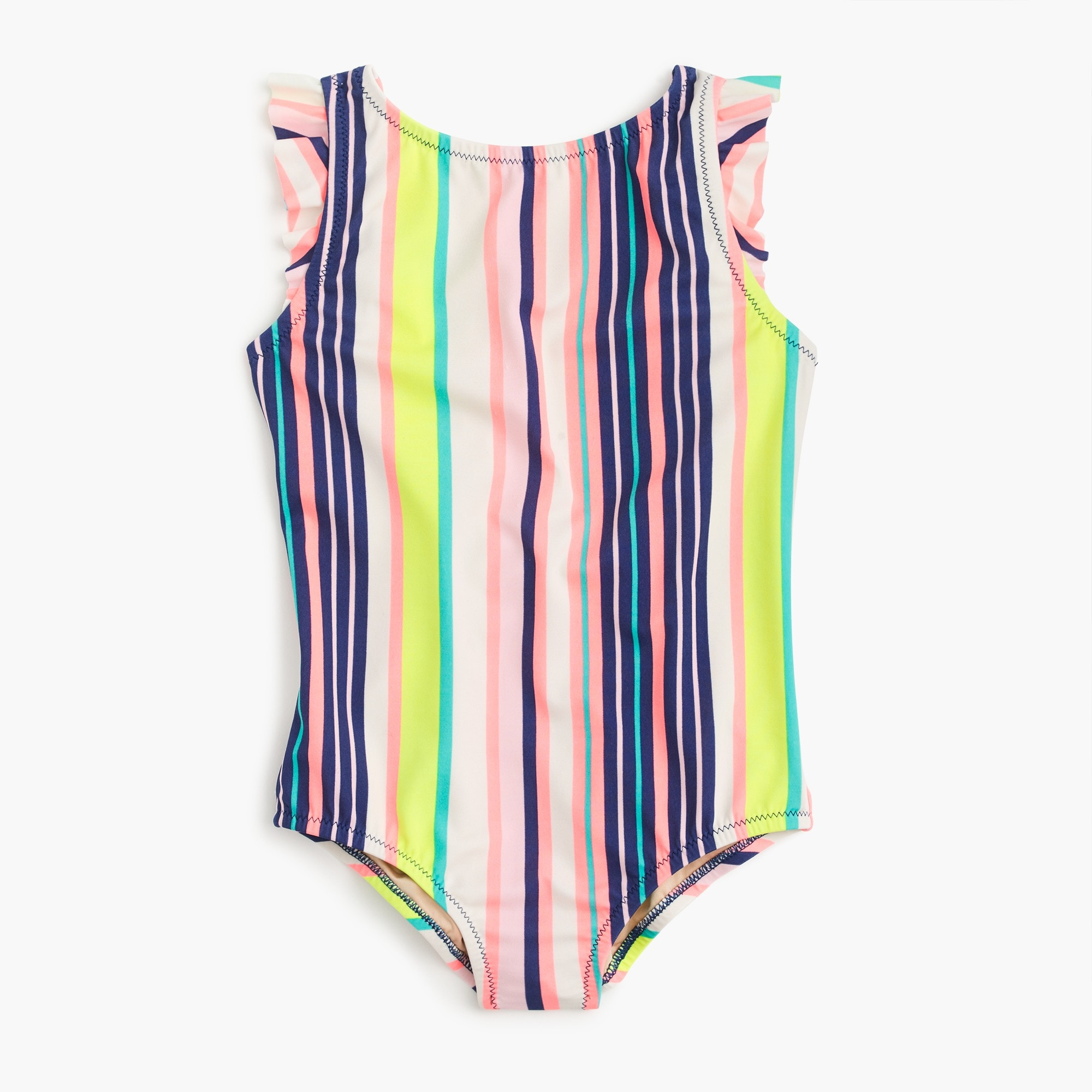 Girls' flutter-sleeve one-piece swimsuit in pink stripe