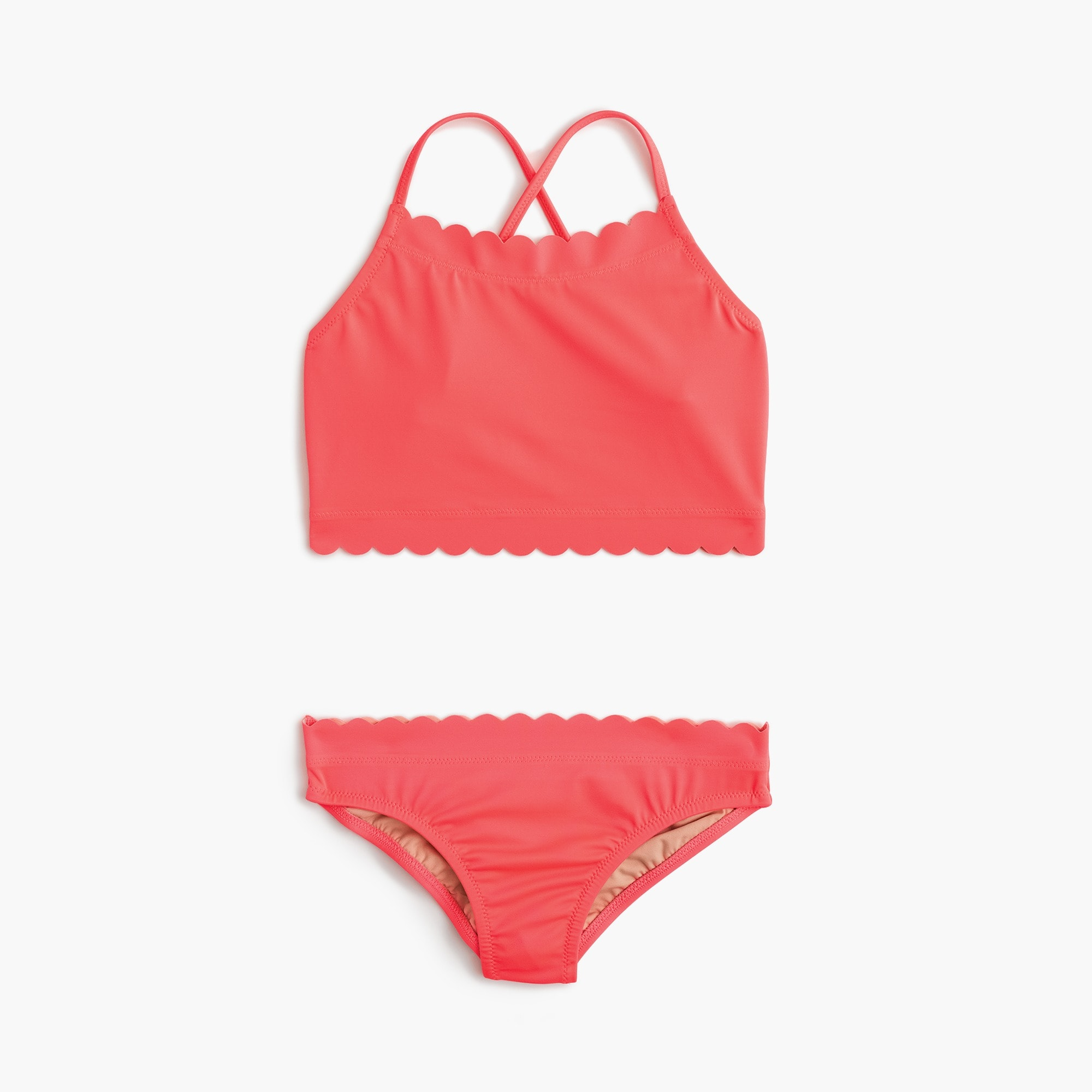Girls' scalloped cropped tankini set