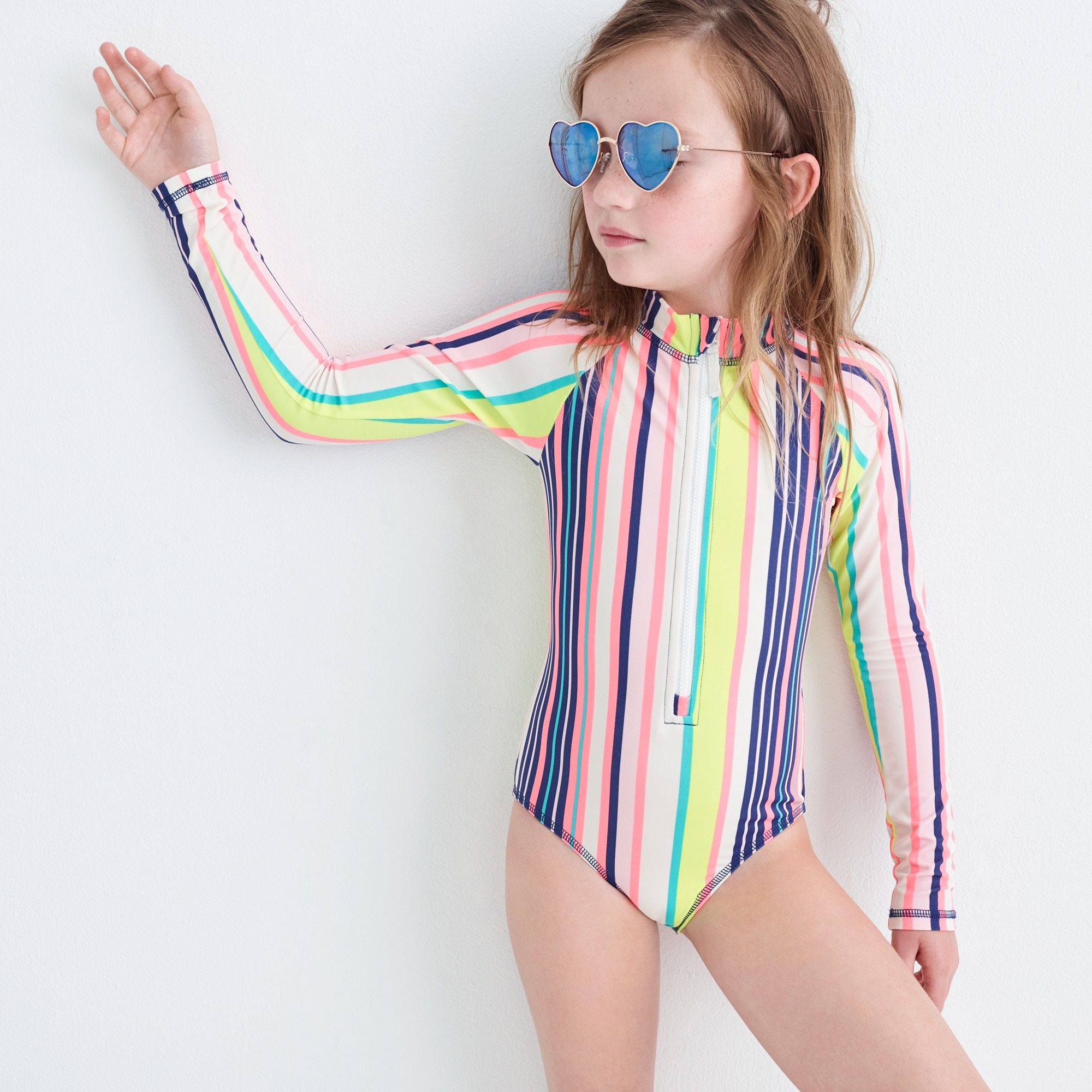 Girls' long-sleeve one-piece swimsuit in pink stripe girl swim & rash guards c
