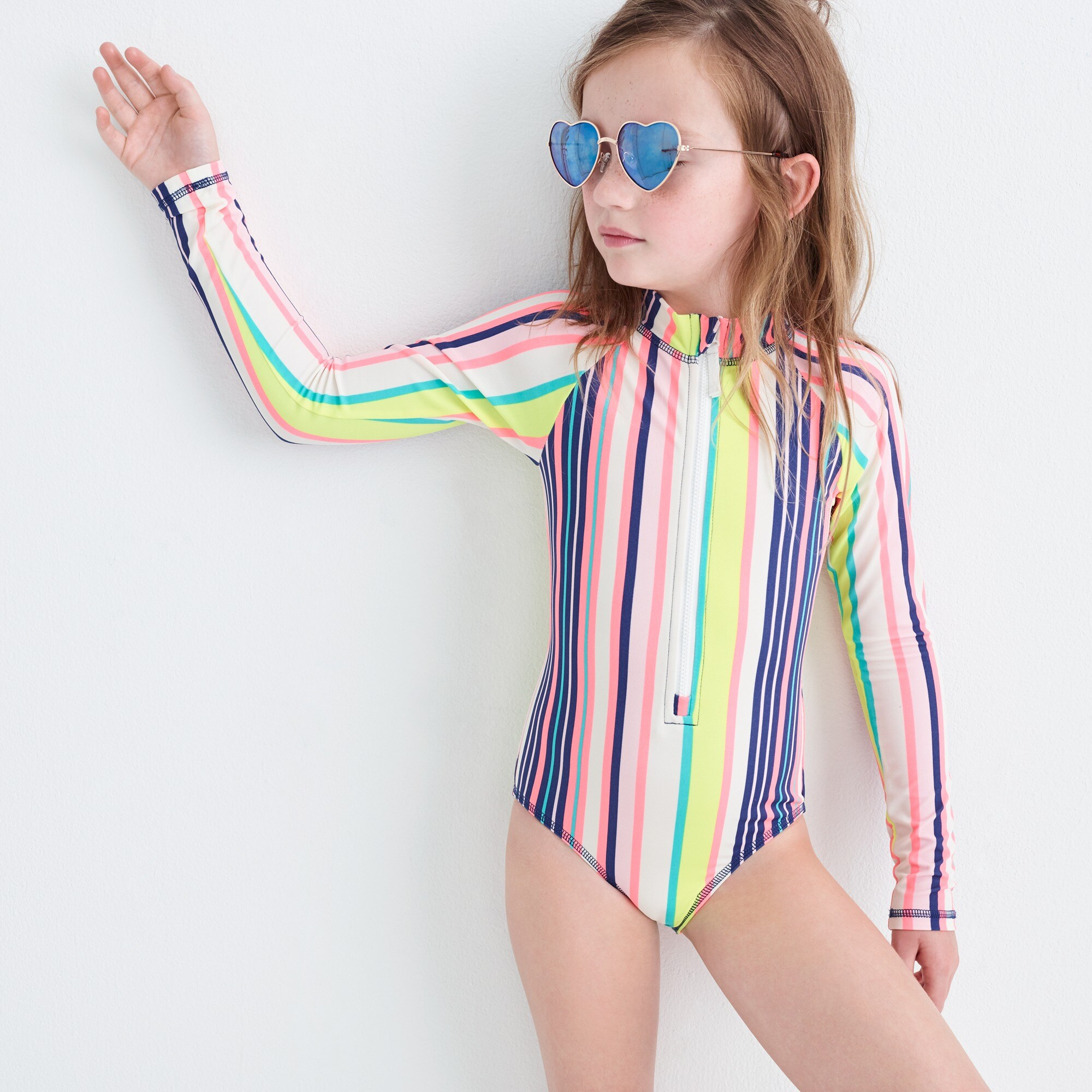 girls Girls' long-sleeve one-piece swimsuit in pink stripe