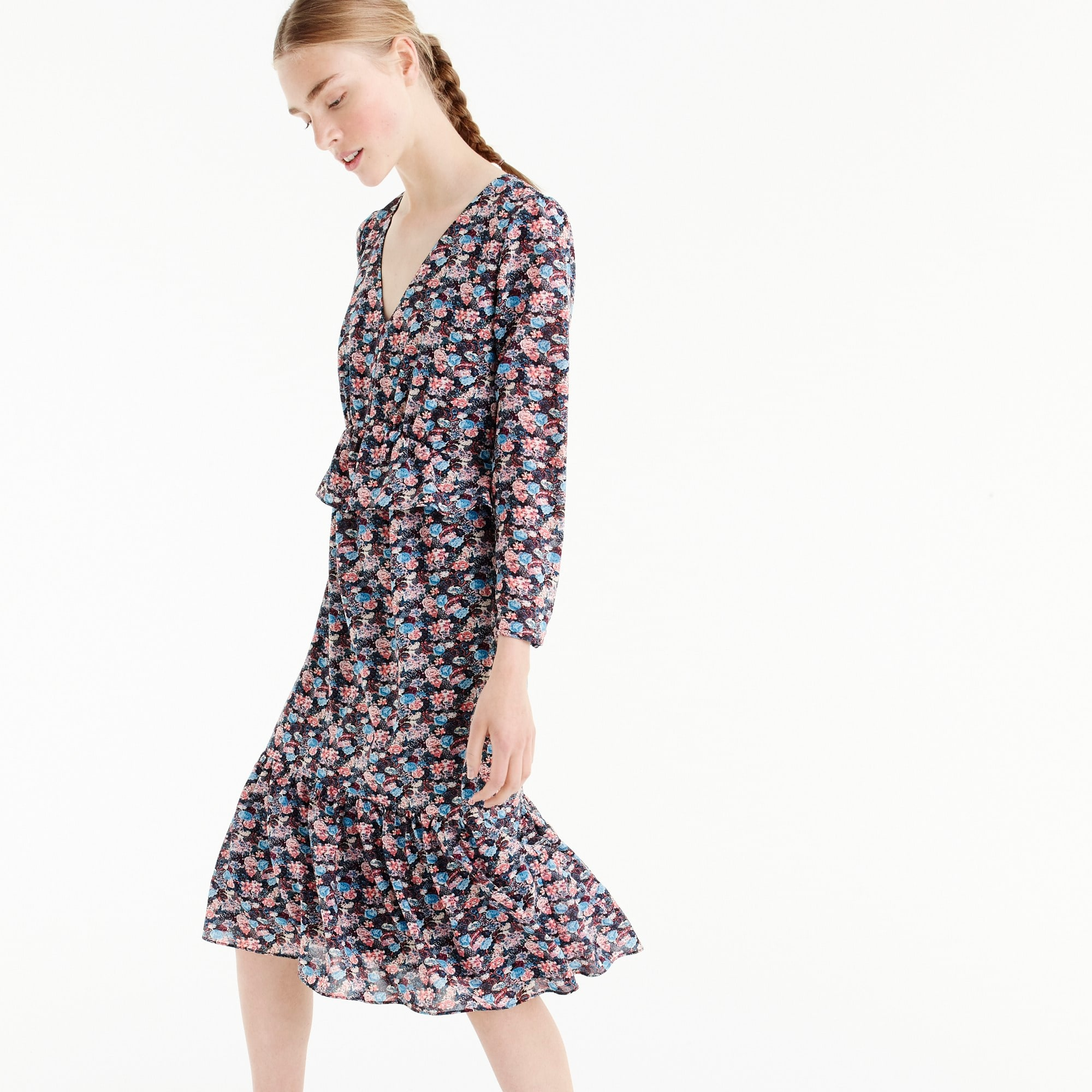 Ruffle-hem dress in paisley floral