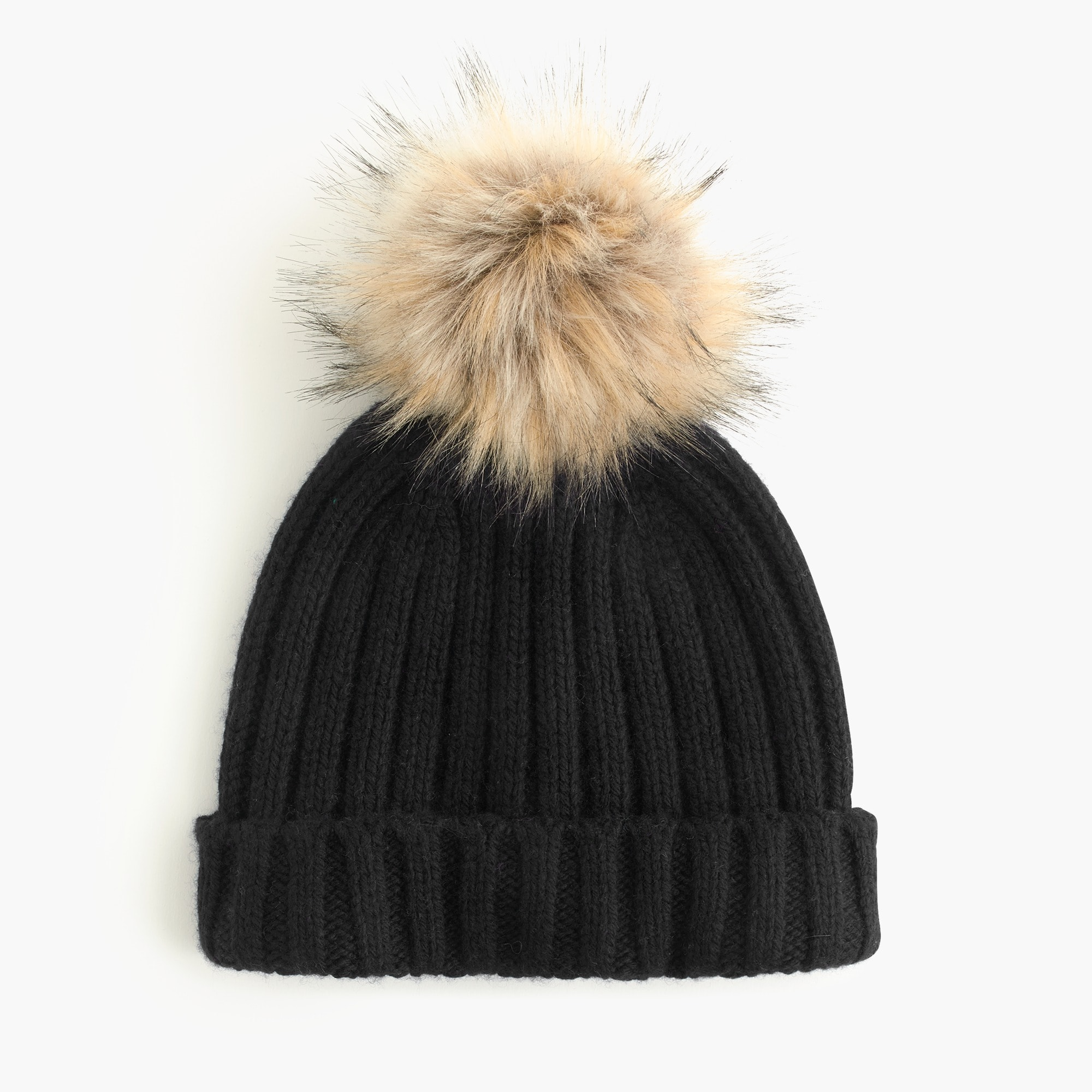 womens Ribbed beanie with faux-fur pom-pom