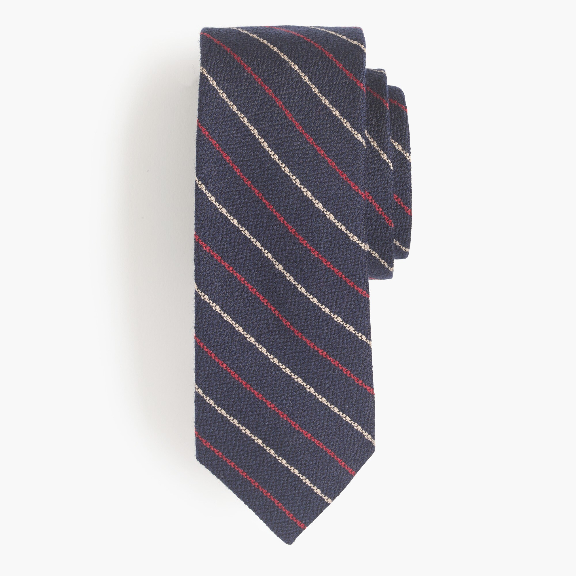 Image 1 for Wool-silk tie in dark grey stripe