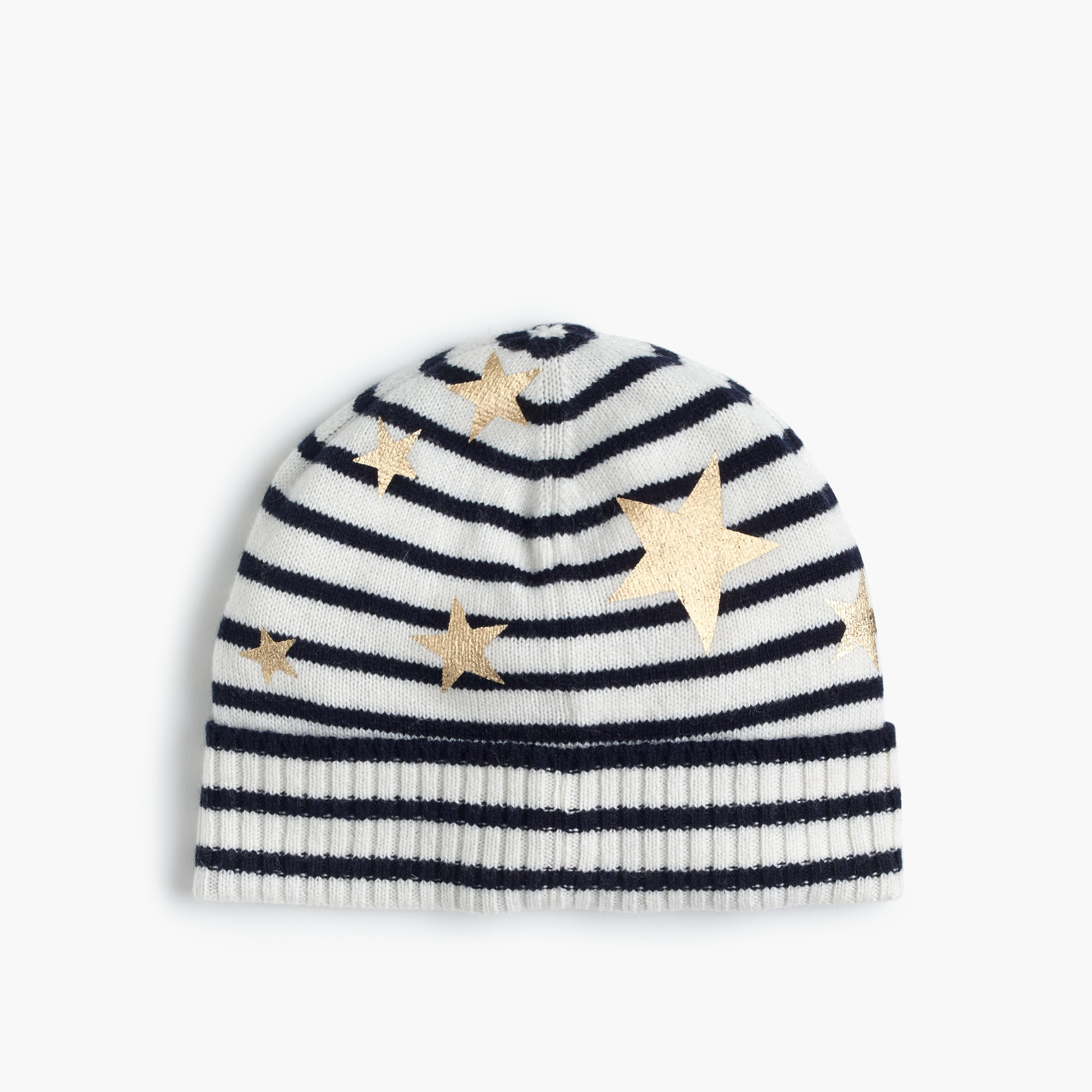 Girls' striped knit hat with gold stars