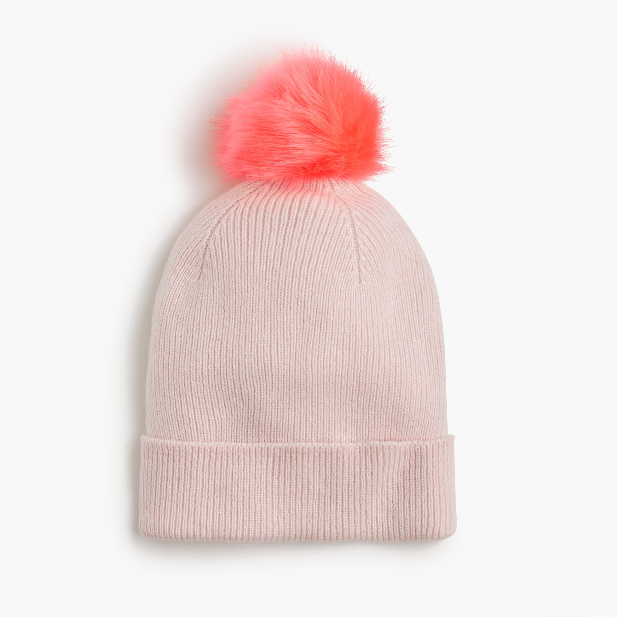 Girls' knit hat with furry pom-pom