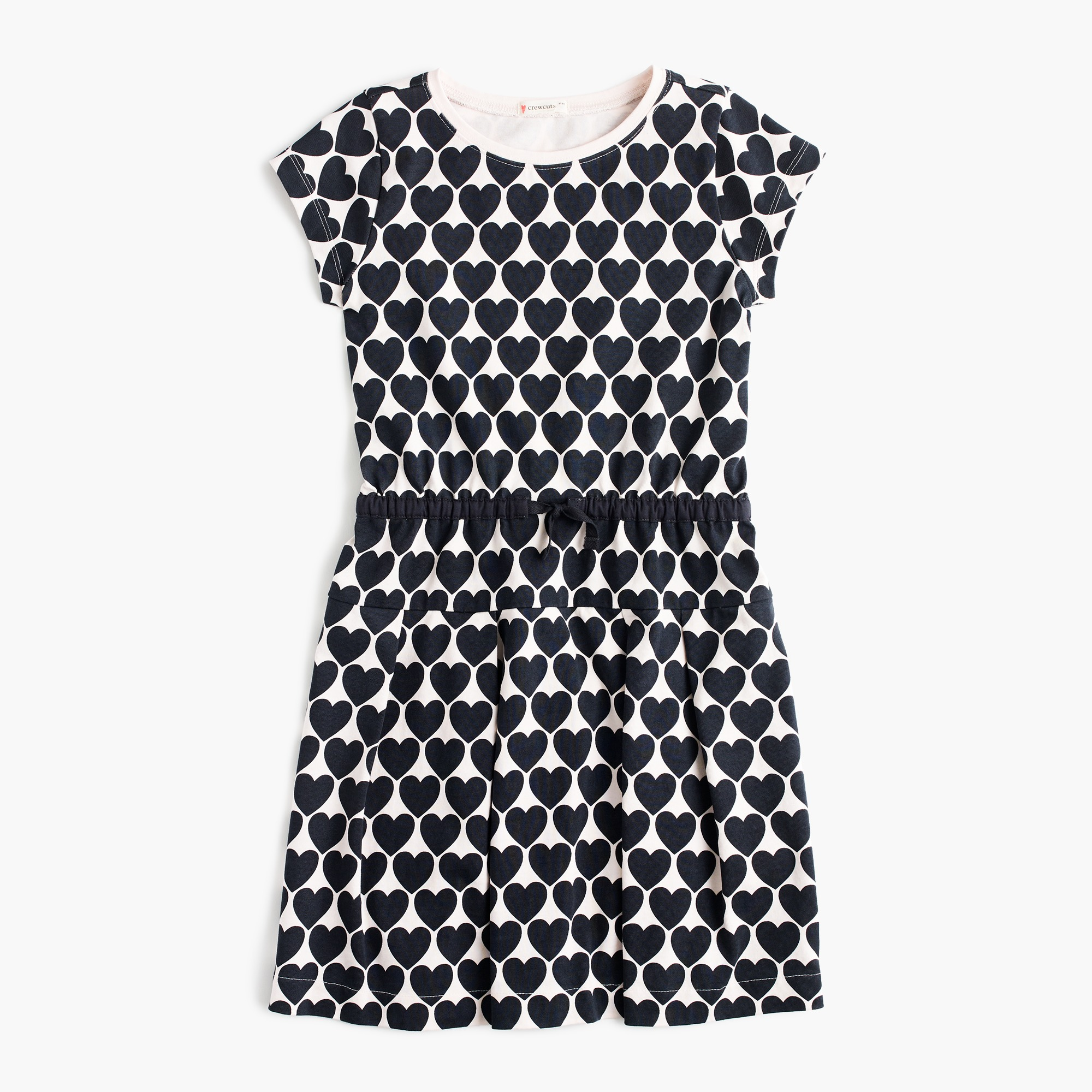 Girls' cap-sleeve dress in hearts