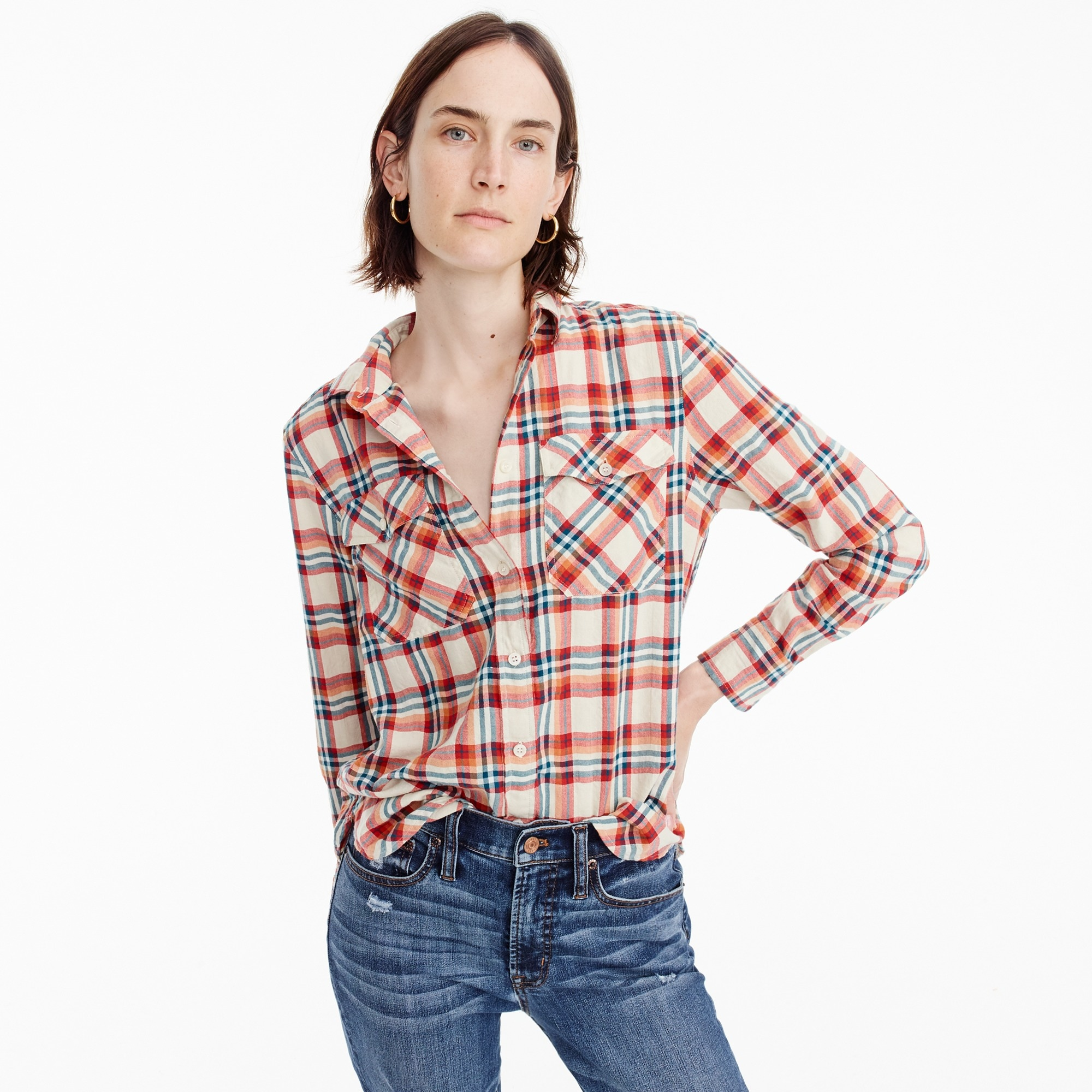 tall boyfriend shirt in coral plaid : women shirts