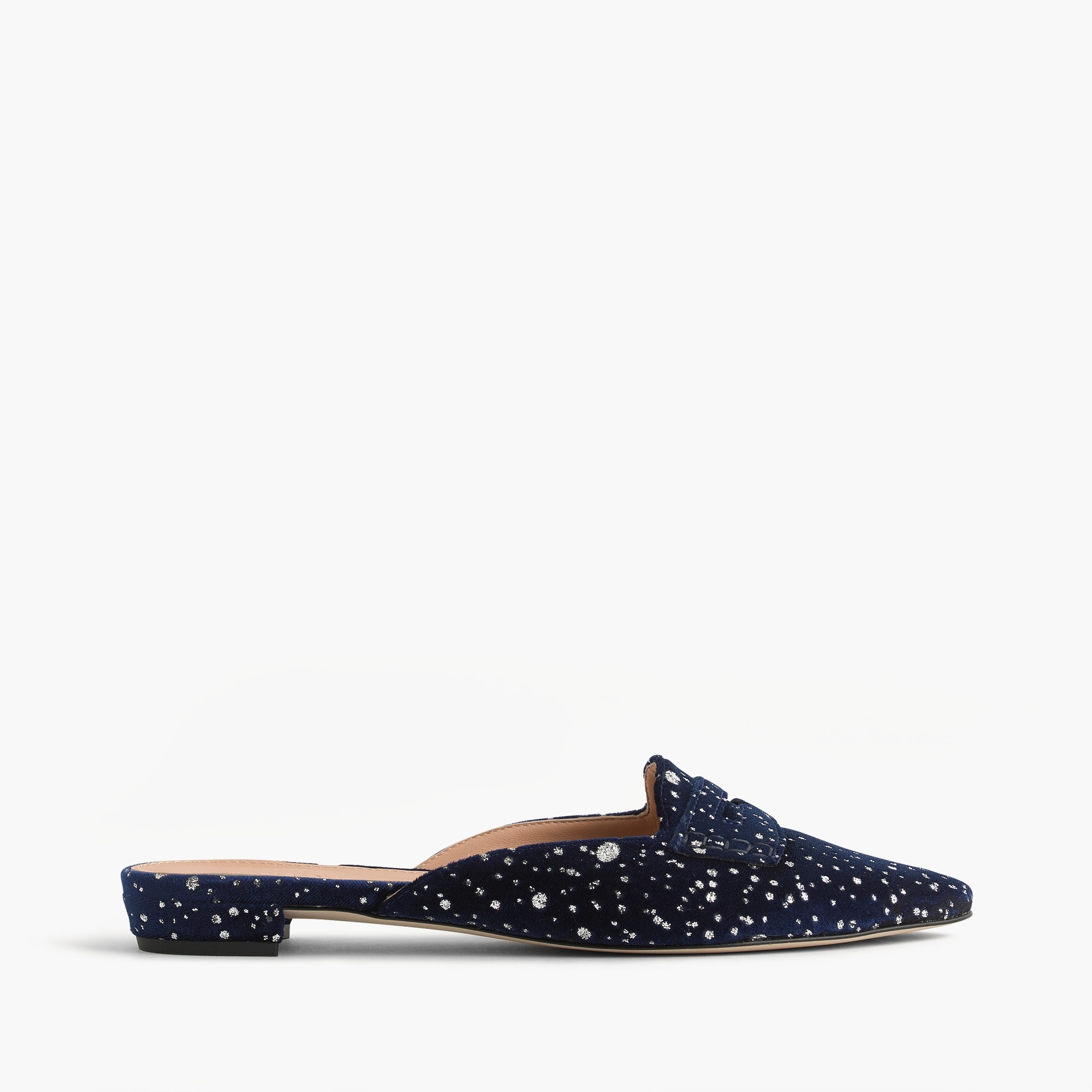Image 1 for Glitter speckled velvet loafer mules