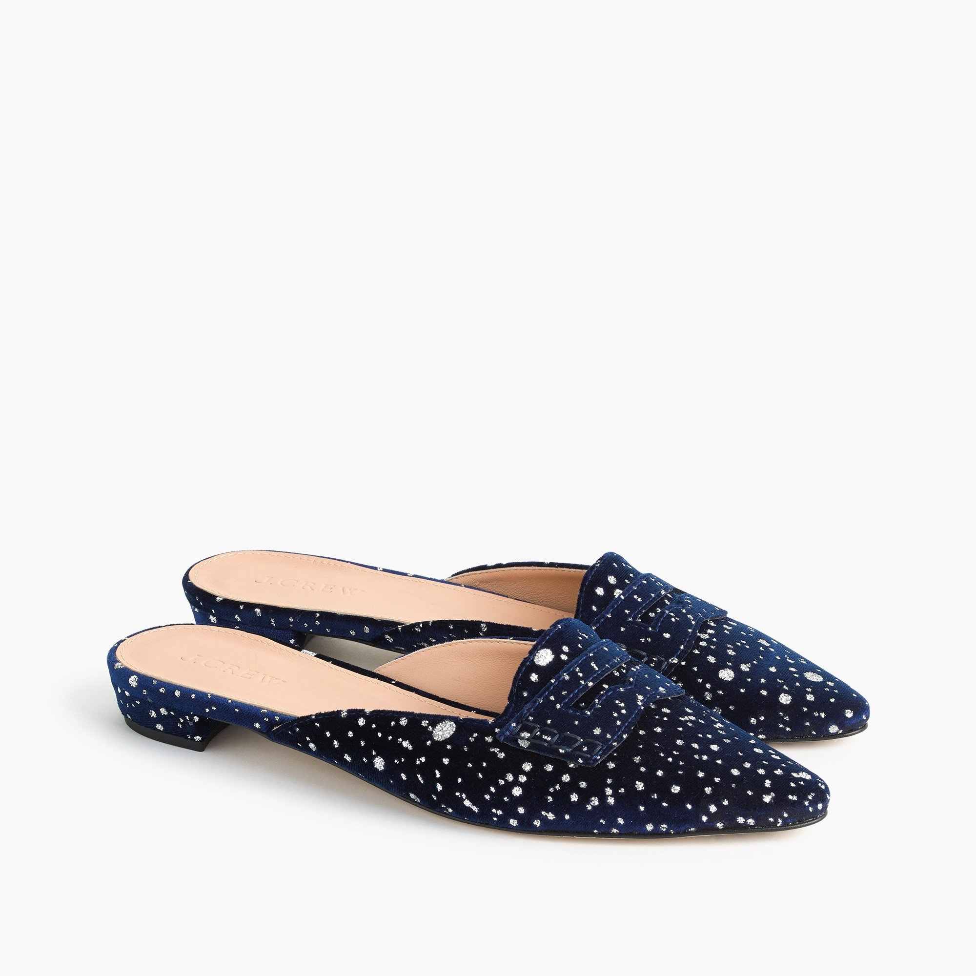 Glitter speckled velvet loafer mules