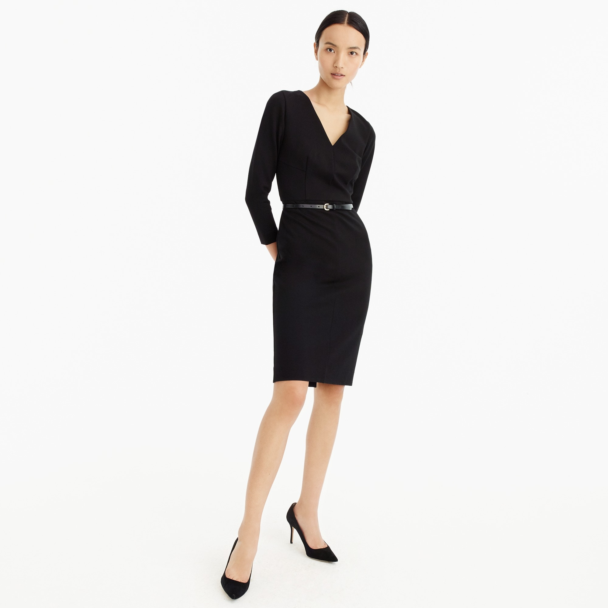 Long-sleeved sheath dress in stretch ponte women suiting c