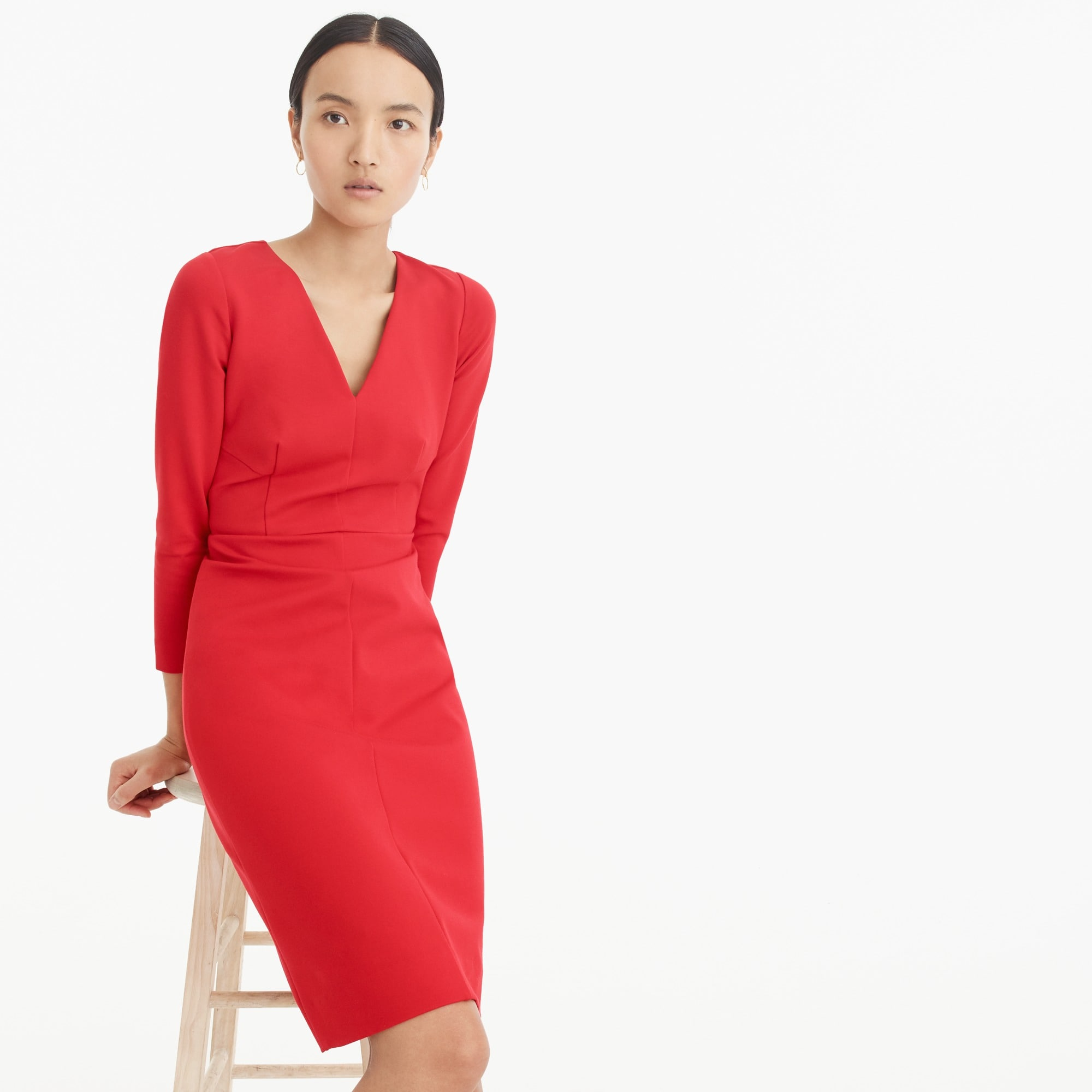 Long-sleeved sheath dress in stretch ponte