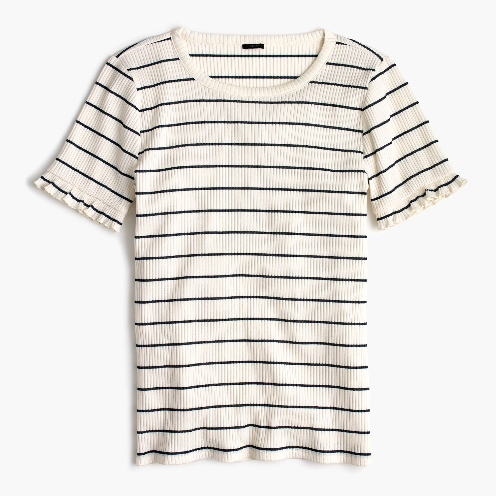 ribbed striped t-shirt with ruffled sleeves : women short sleeve