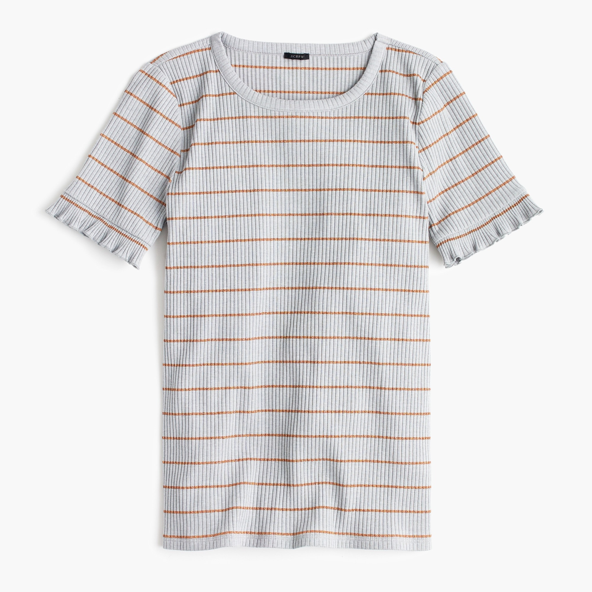 Image 1 for Ribbed striped T-shirt with ruffled sleeves