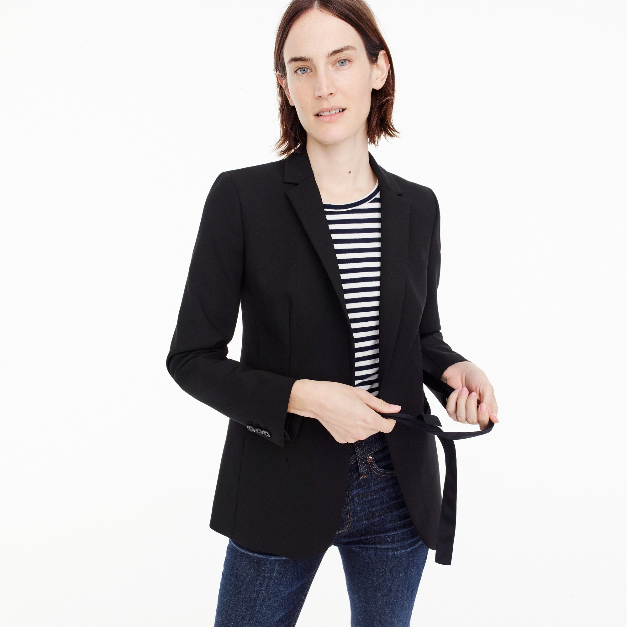 Tie-front blazer in four-season stretch women suiting c