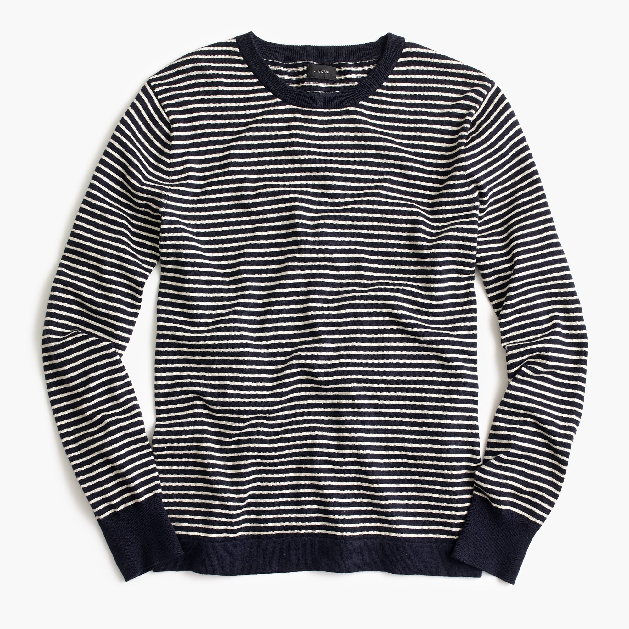 Image 2 for Cotton crewneck in dark indigo stripe