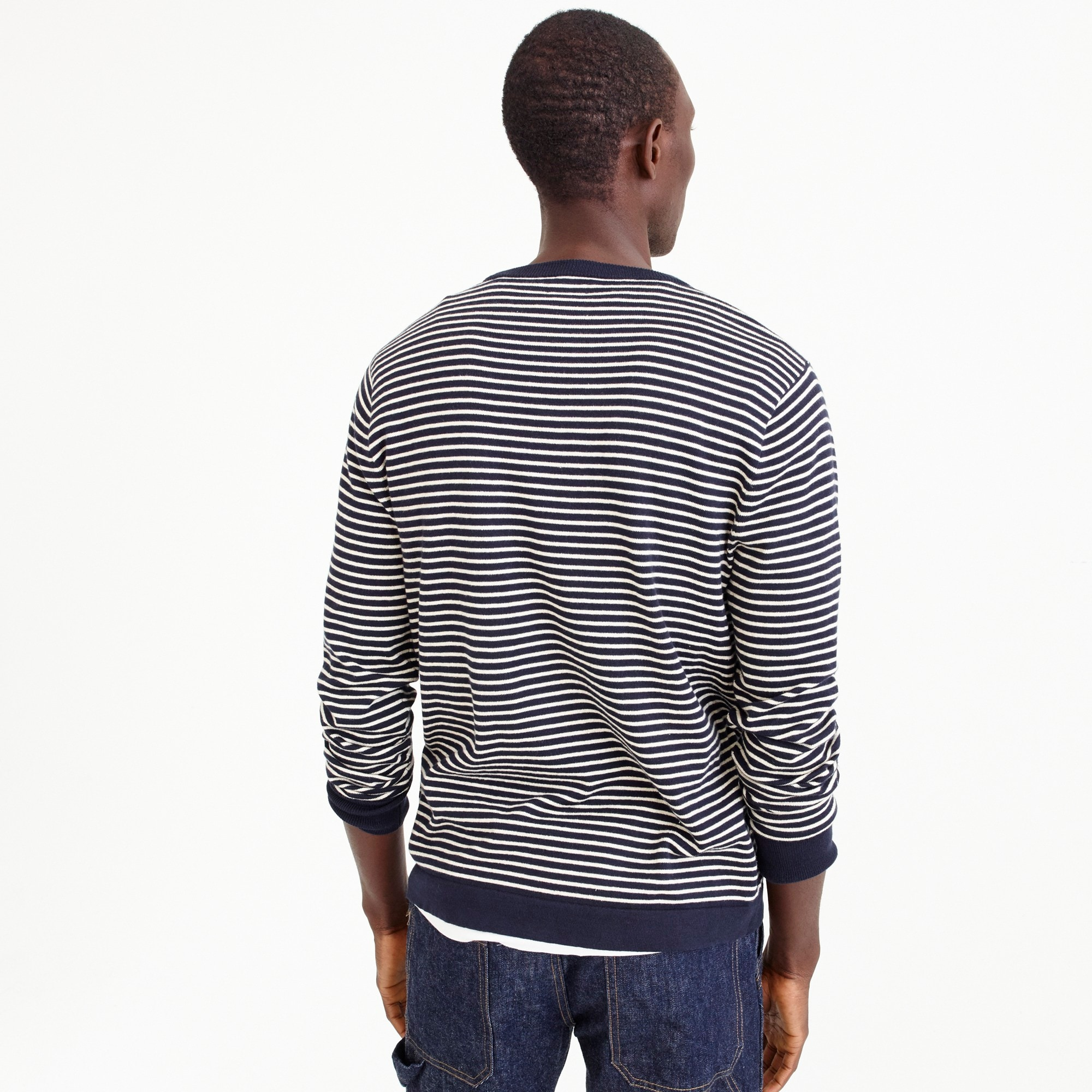 Cotton crewneck in dark indigo stripe