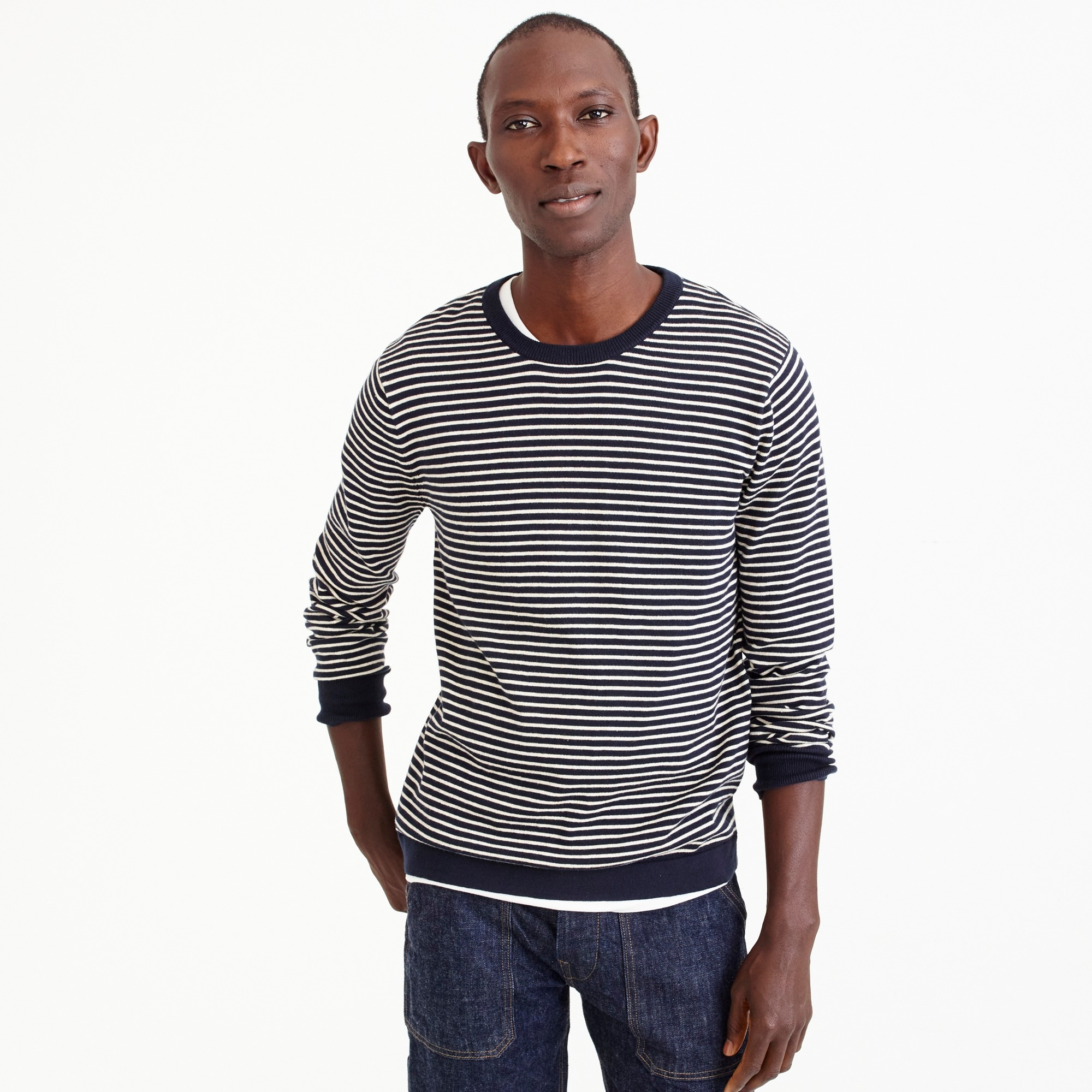 men's cotton crewneck in dark indigo stripe - men's sweaters