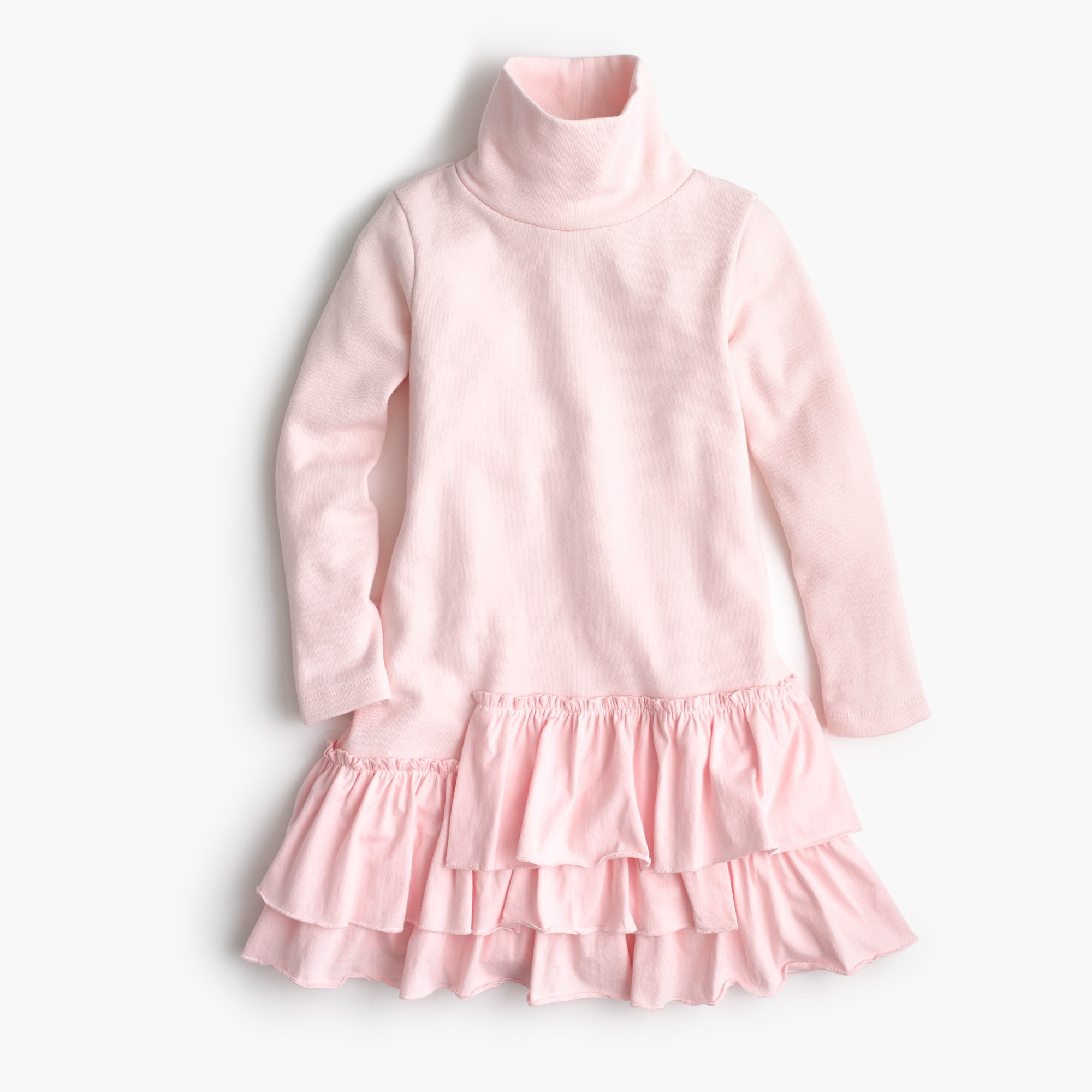 Girls' ruffled turtleneck dress