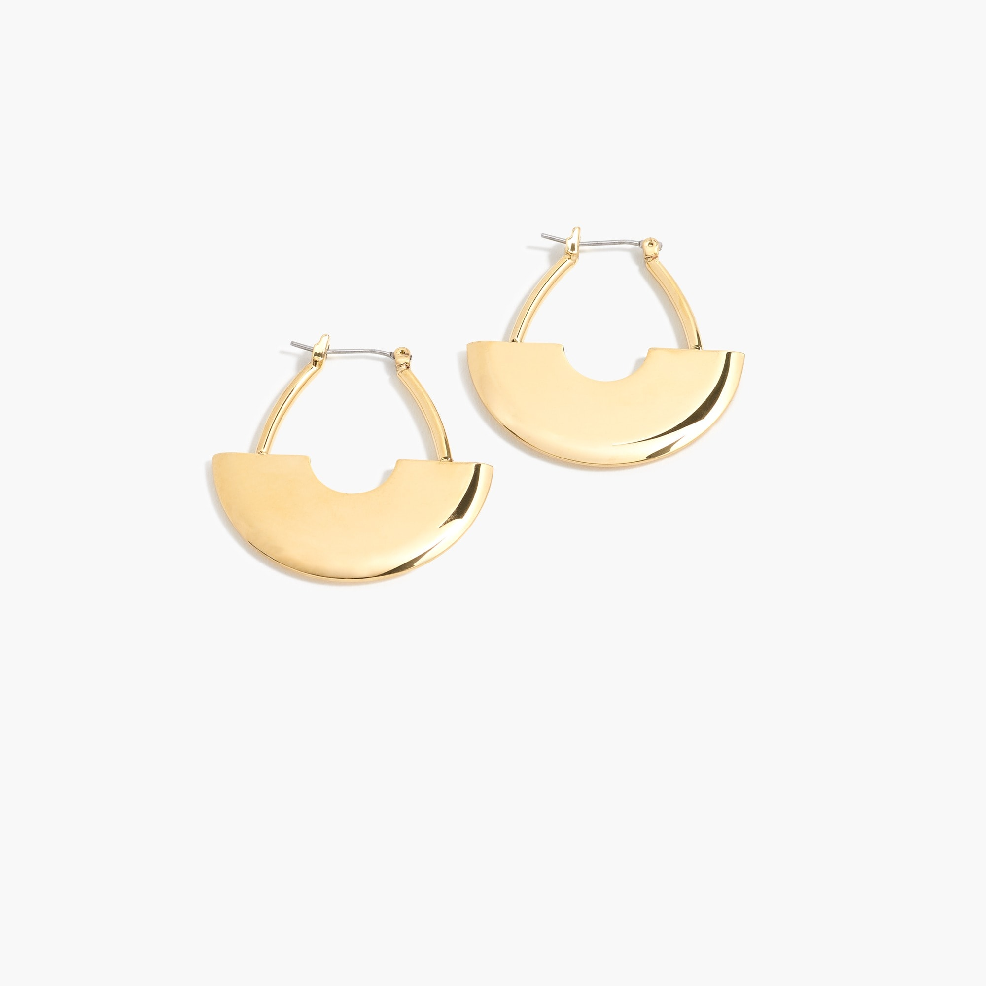 Gold art deco hoop earrings