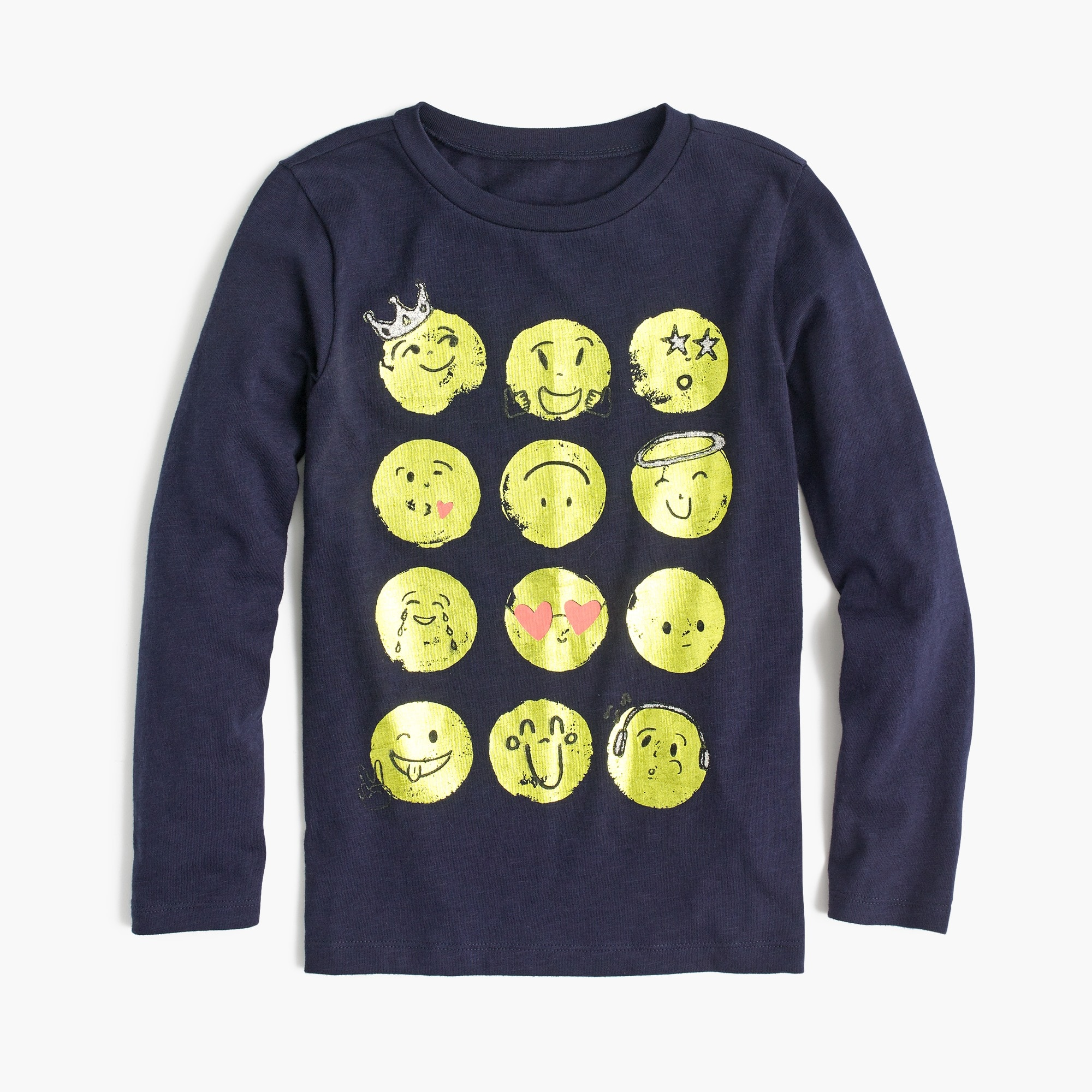 Image 1 for Girls' long-sleeve emoji T-shirt