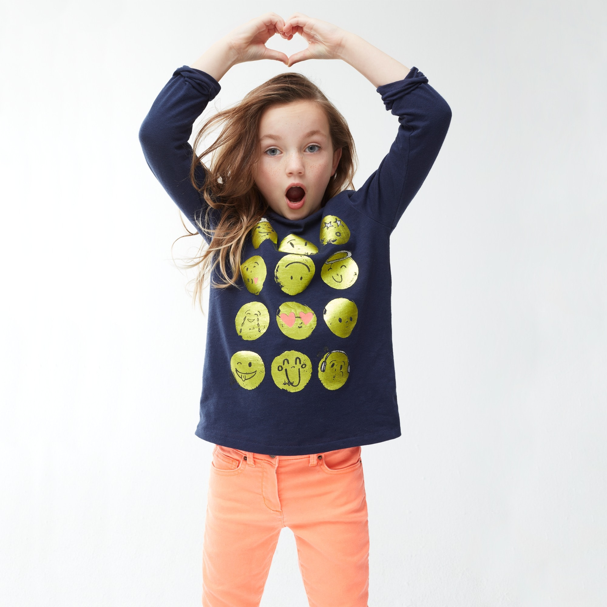 Girls' long-sleeve emoji T-shirt