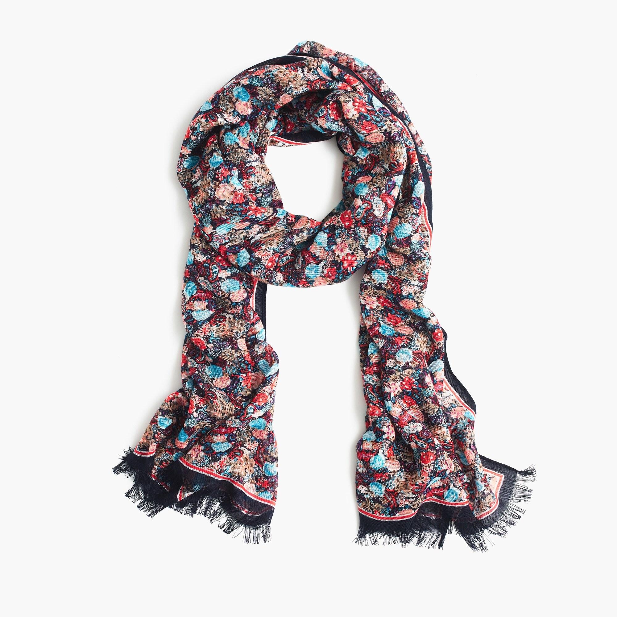 Dark floral wool-blend scarf