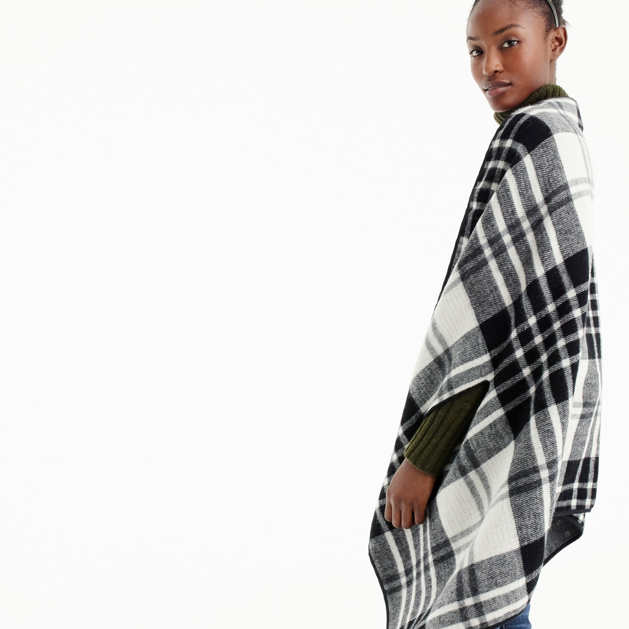 Image 3 for Plaid cape scarf