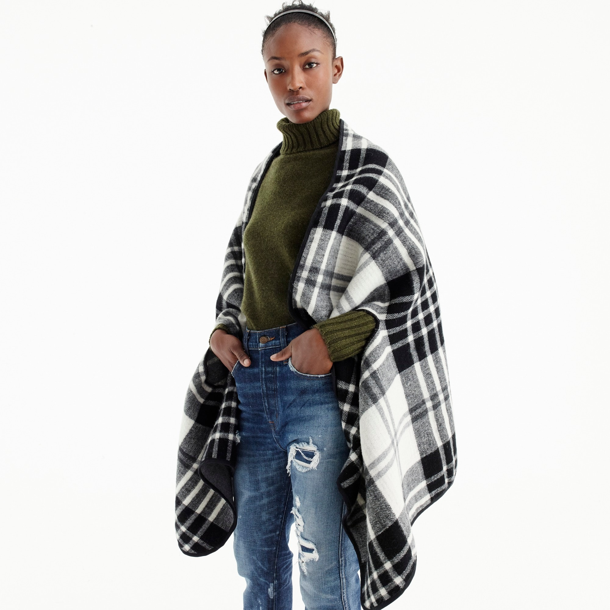 Plaid cape scarf