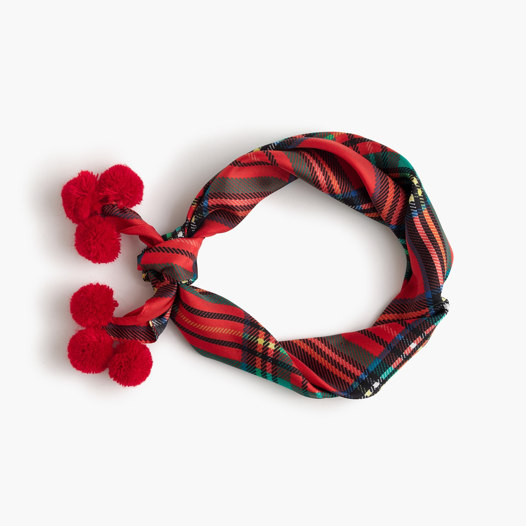 Italian silk scarf in tartan plaid with pom-poms