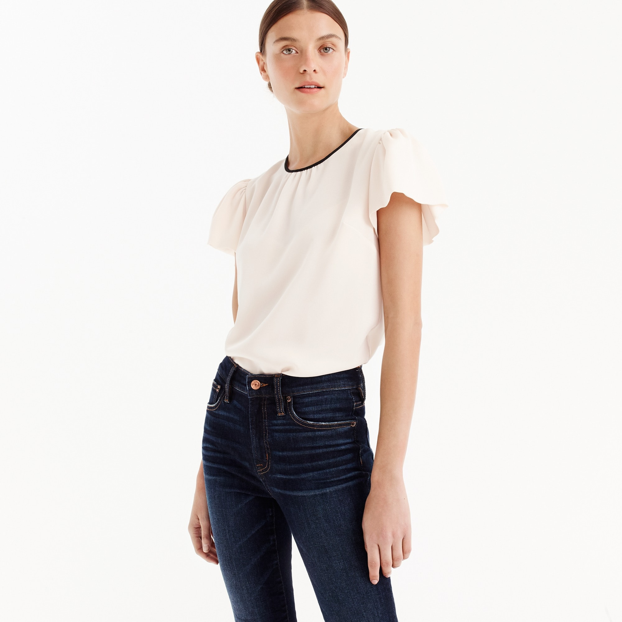 Drapey crepe cap-sleeve top