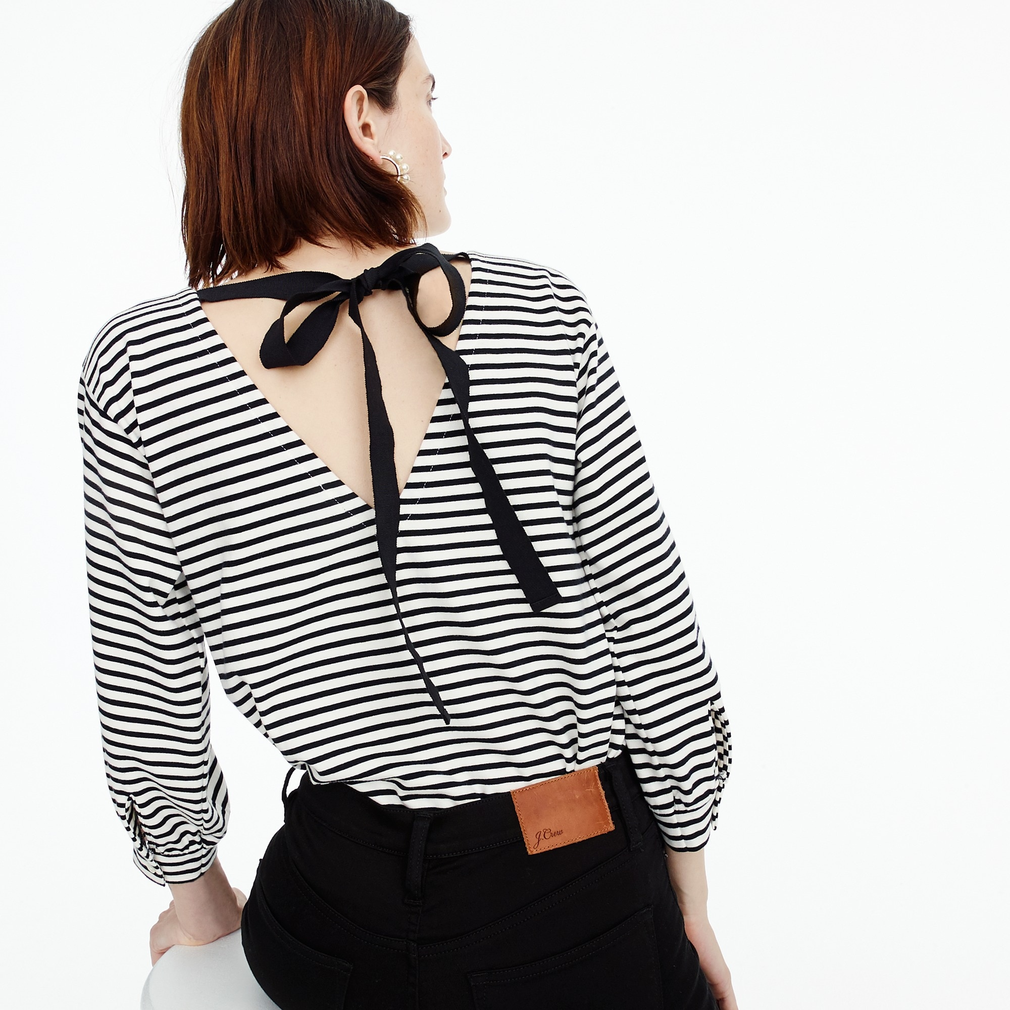 Tie-back top in stripe