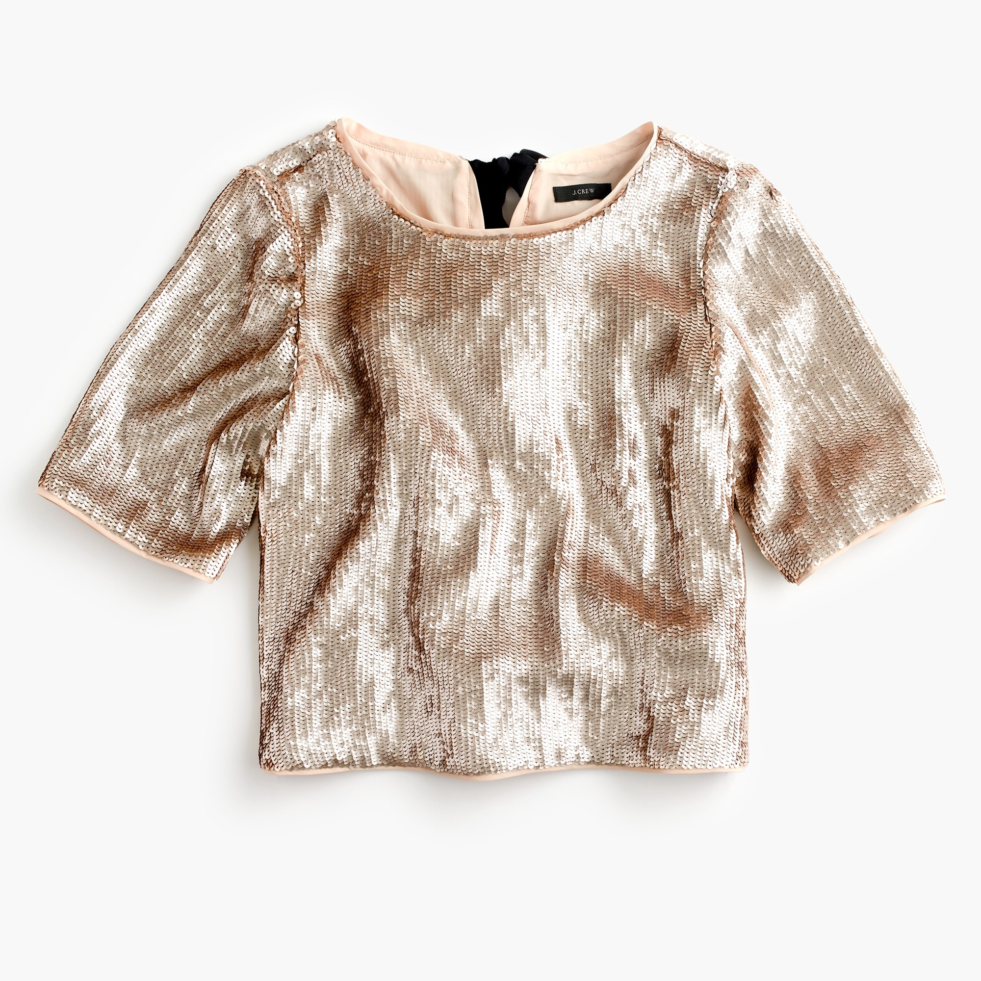Cropped sequin top in rose gold