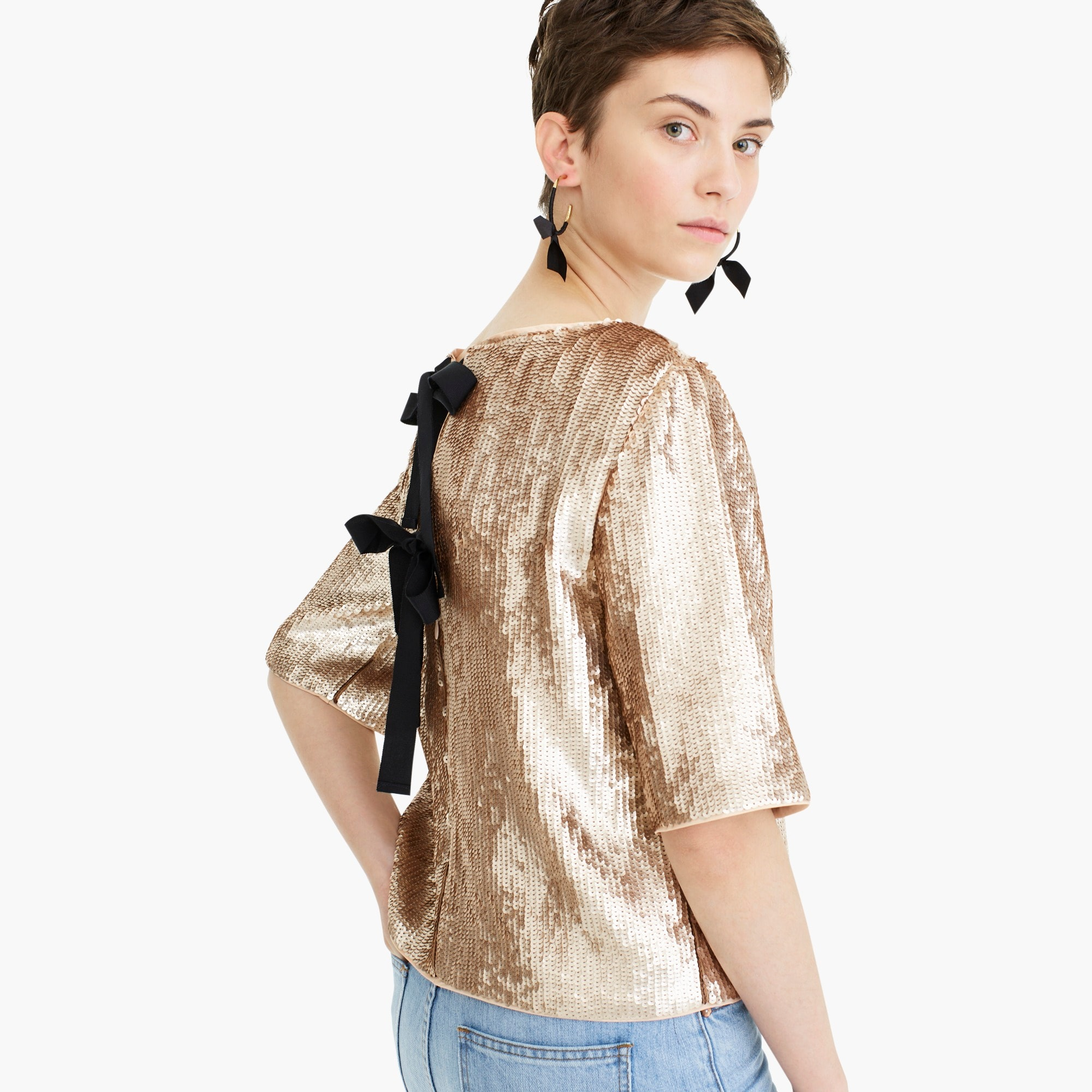 Image 1 for Cropped sequin top in rose gold