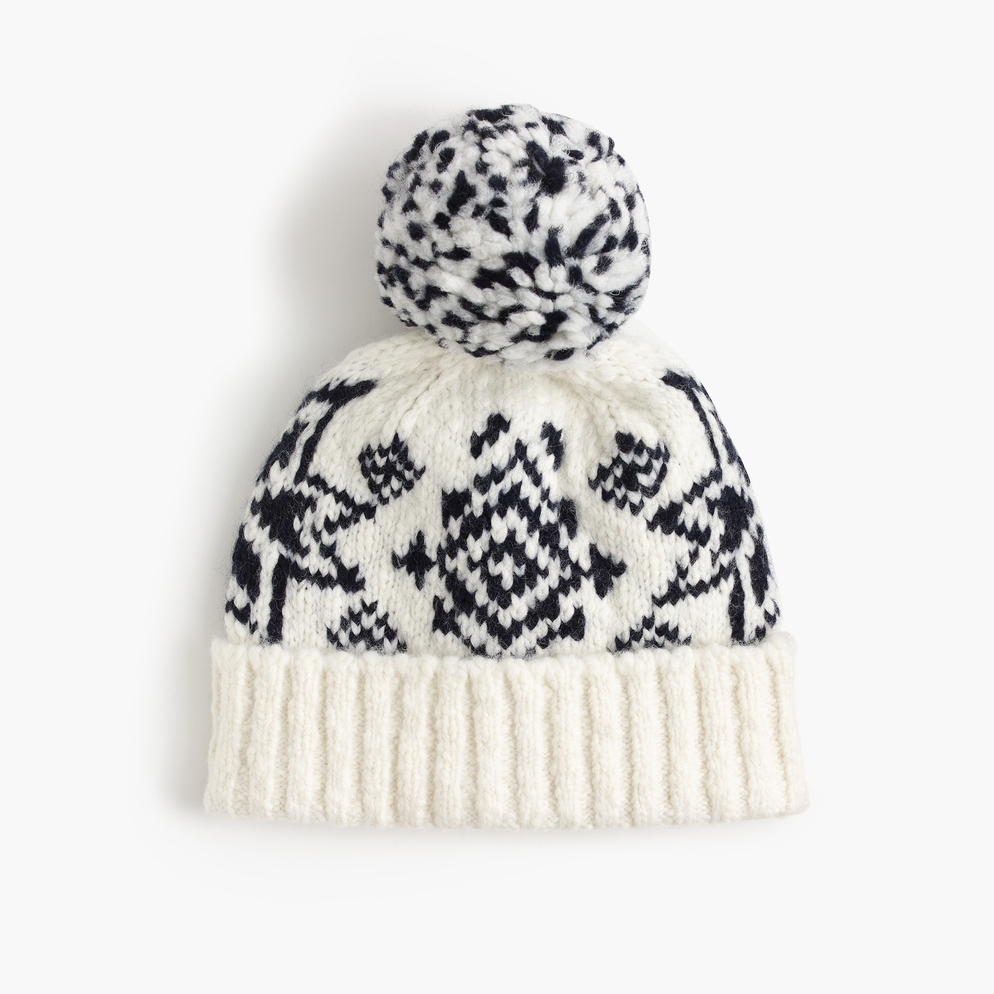 Image 2 for Beanie in oversized Fair Isle