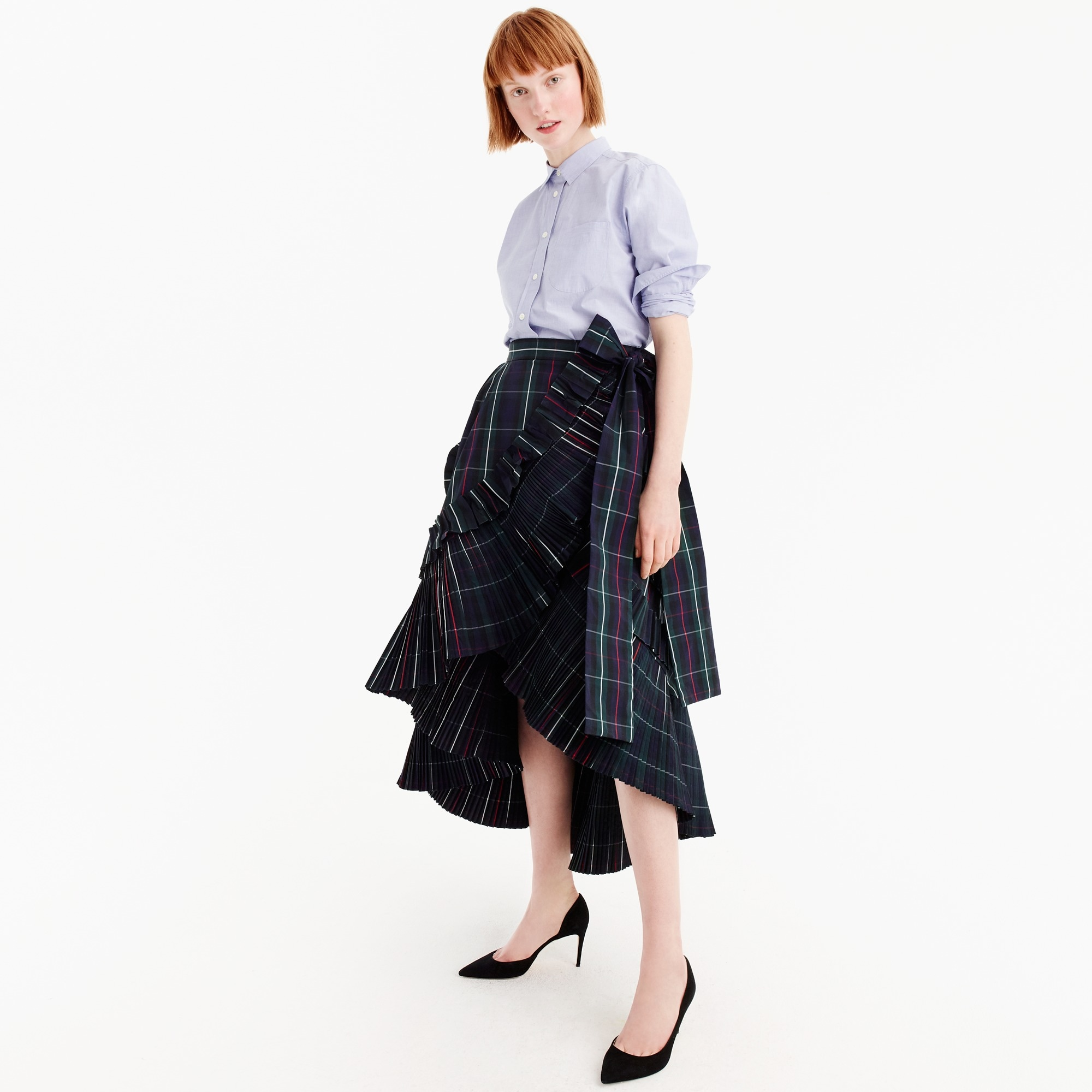women's collection ruffle skirt in yarn-dyed plaid