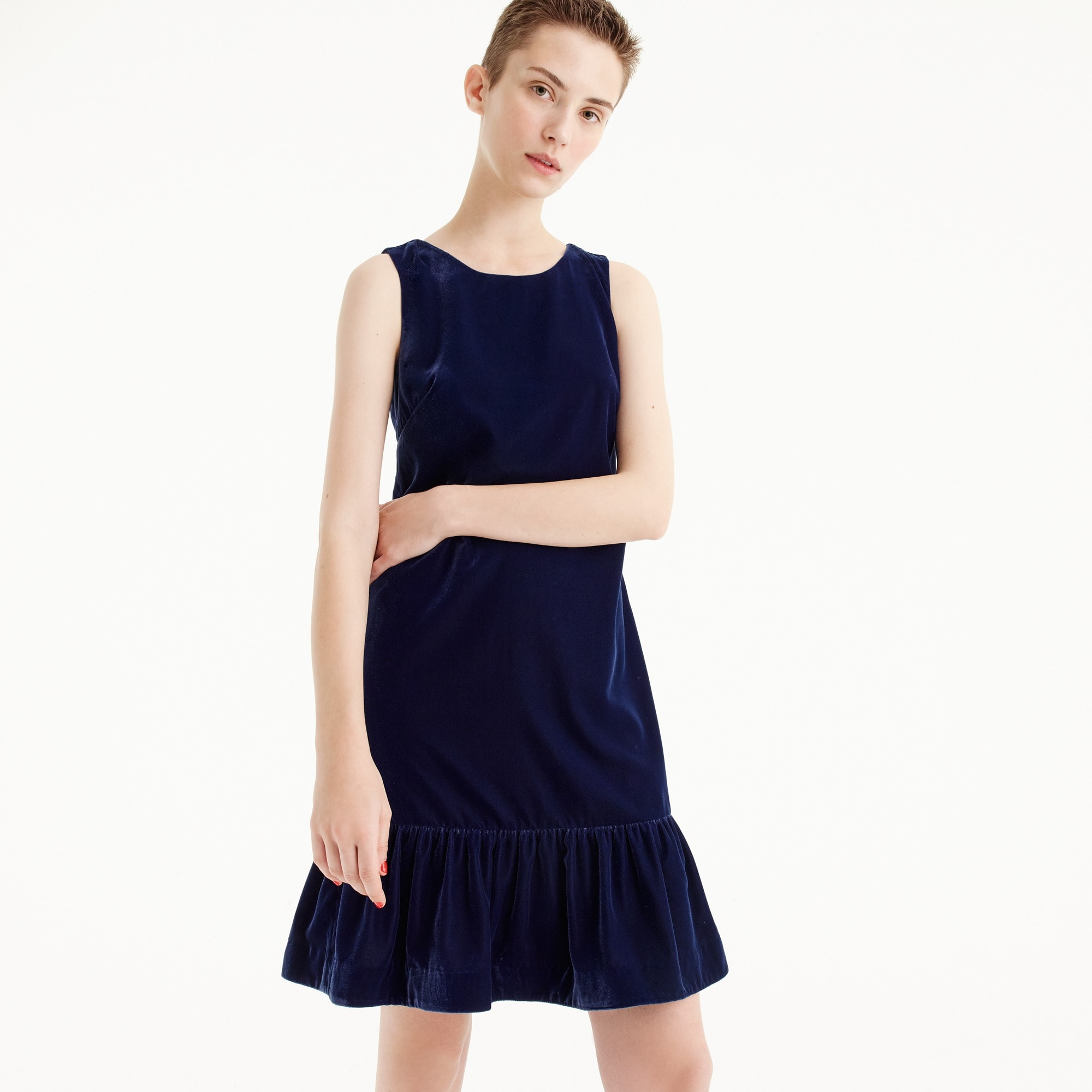 Tall Velvet ruffle-hem dress