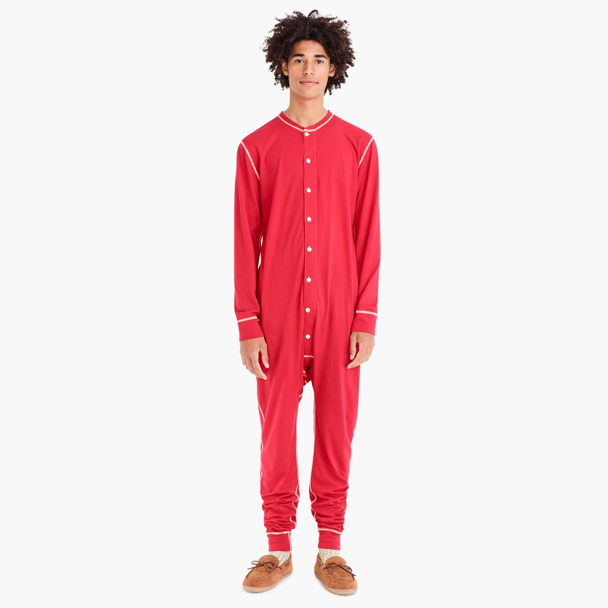 union suit in red : men pajama sets