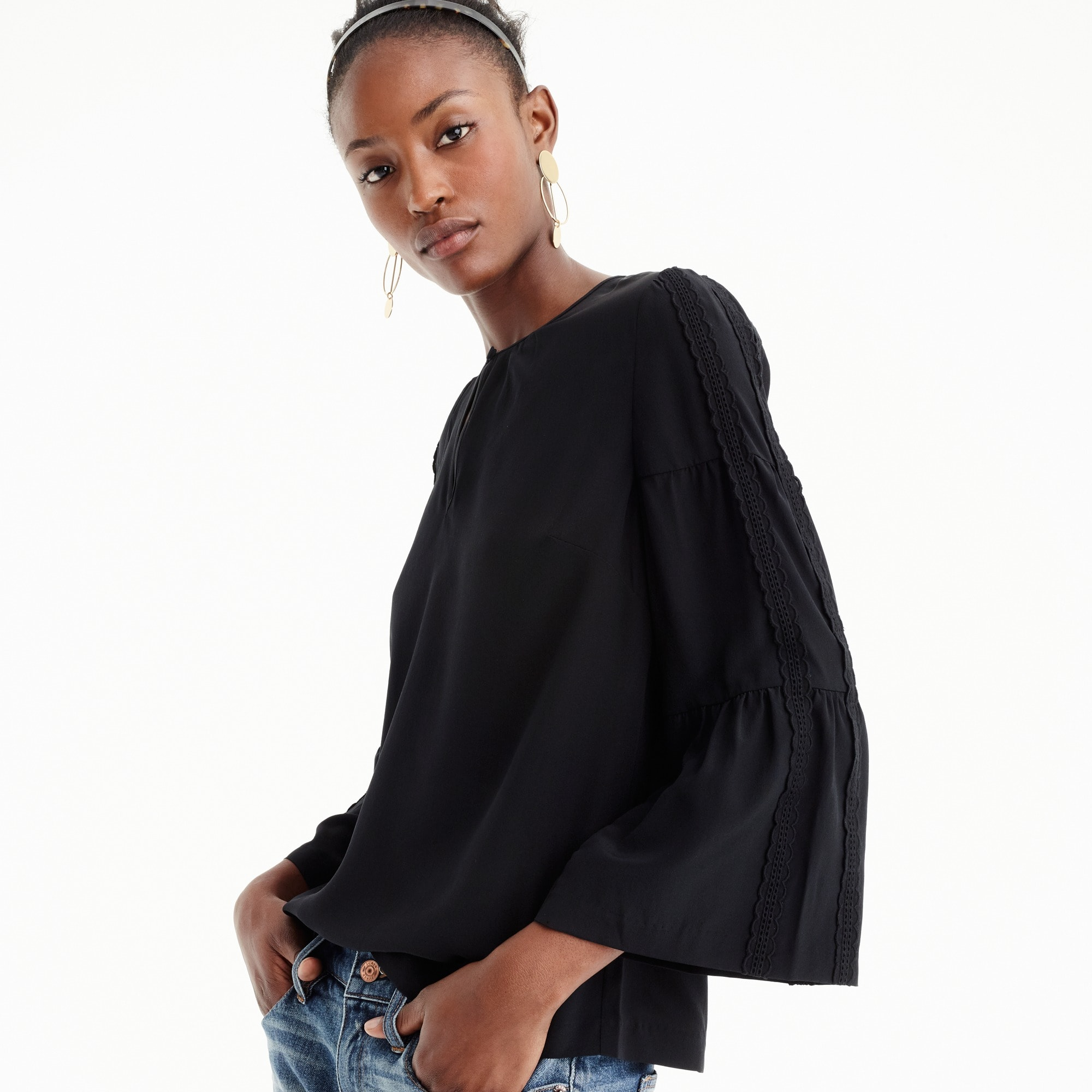 Petite embroidered bell-sleeve silk top