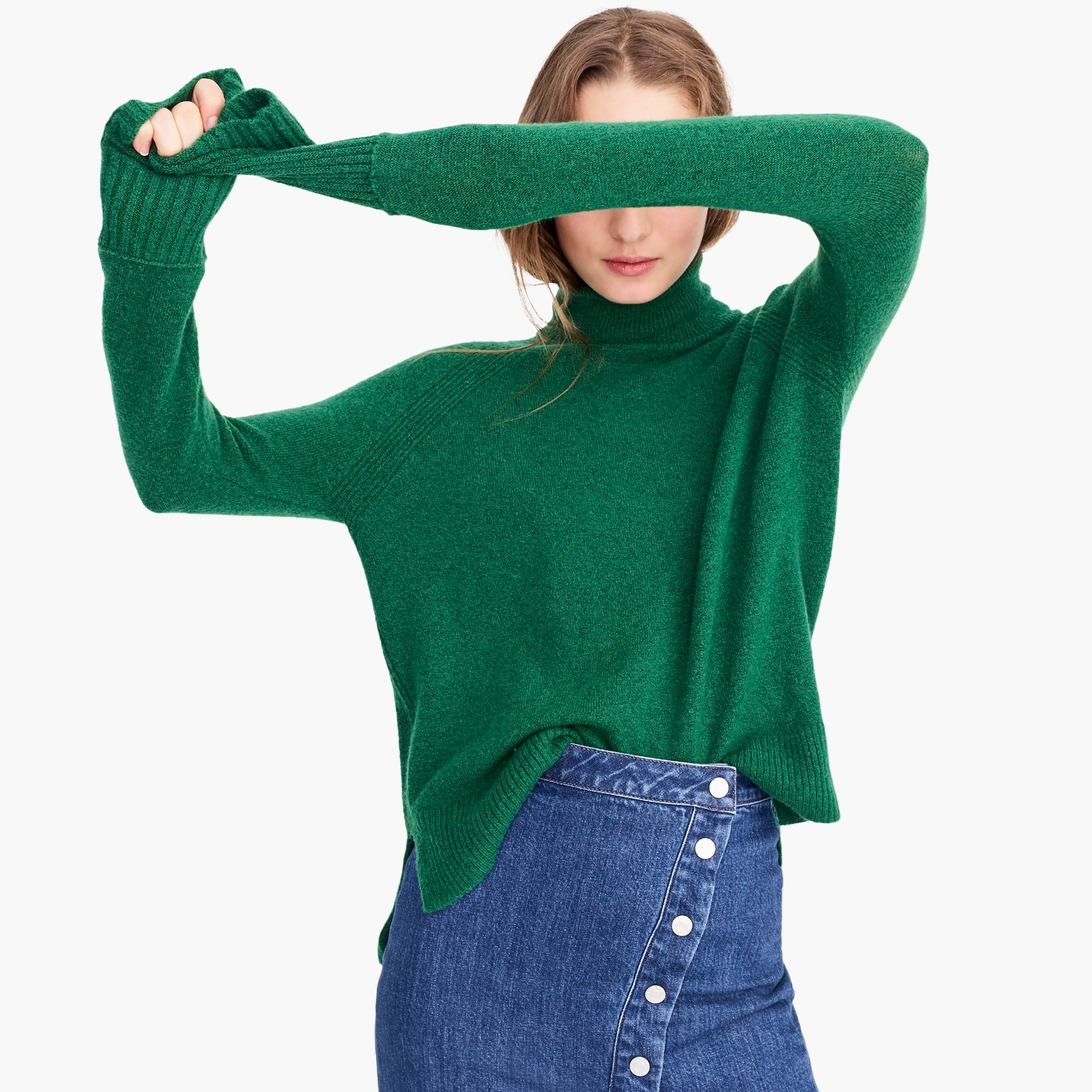 womens Turtleneck sweater with side slits in supersoft yarn