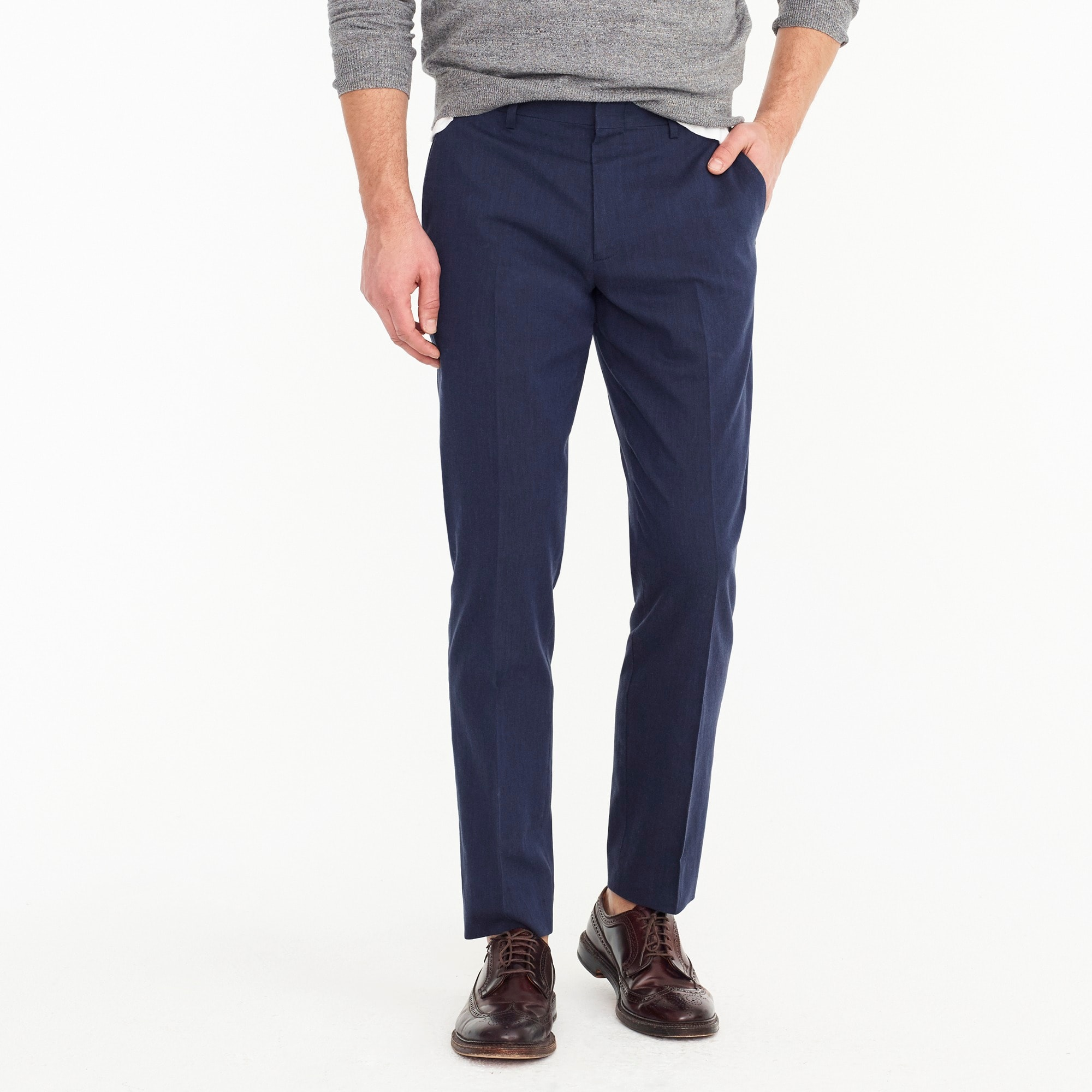 Ludlow unstructured suit pant in stretch cotton-linen men pants c