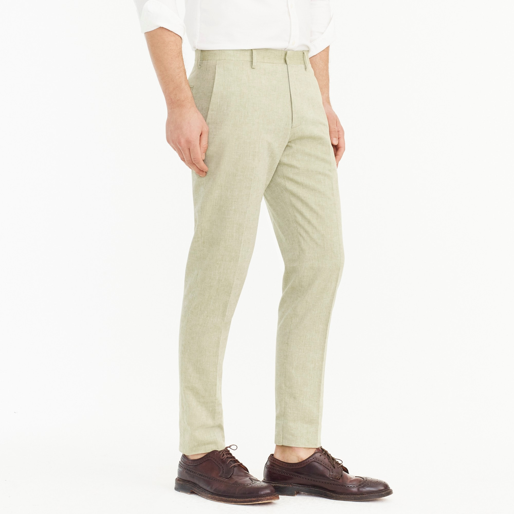 Ludlow Slim-fit unstructured suit pant in cotton-linen
