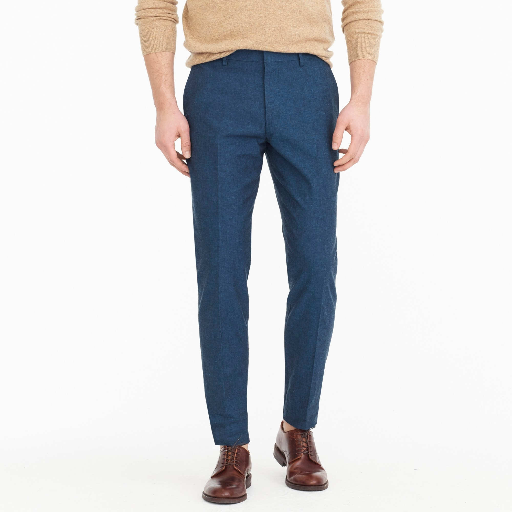 Ludlow unstructured suit pant in blue cotton-linen men pants c