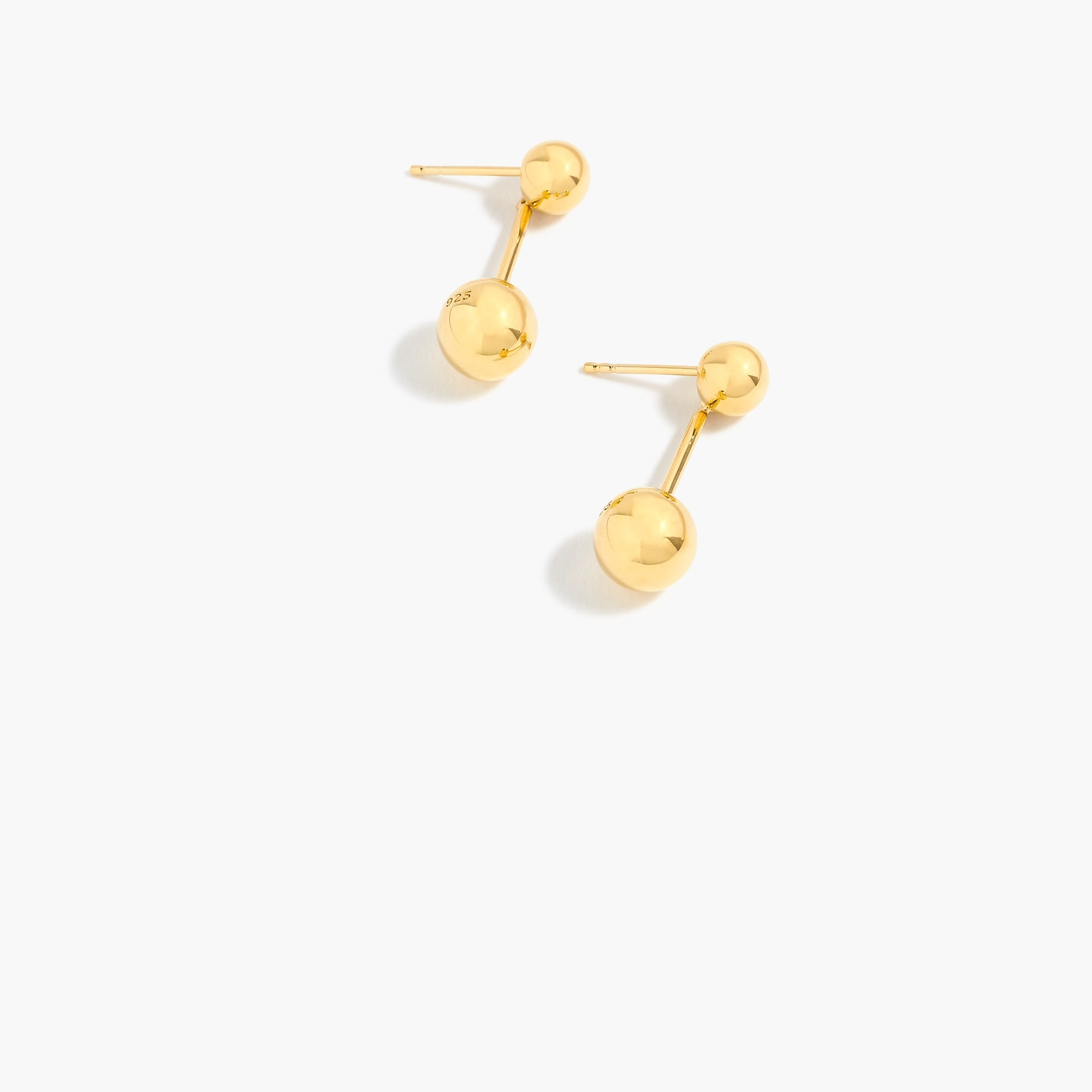 Demi-fine 14k gold-plated double-orb earrings women jewelry c