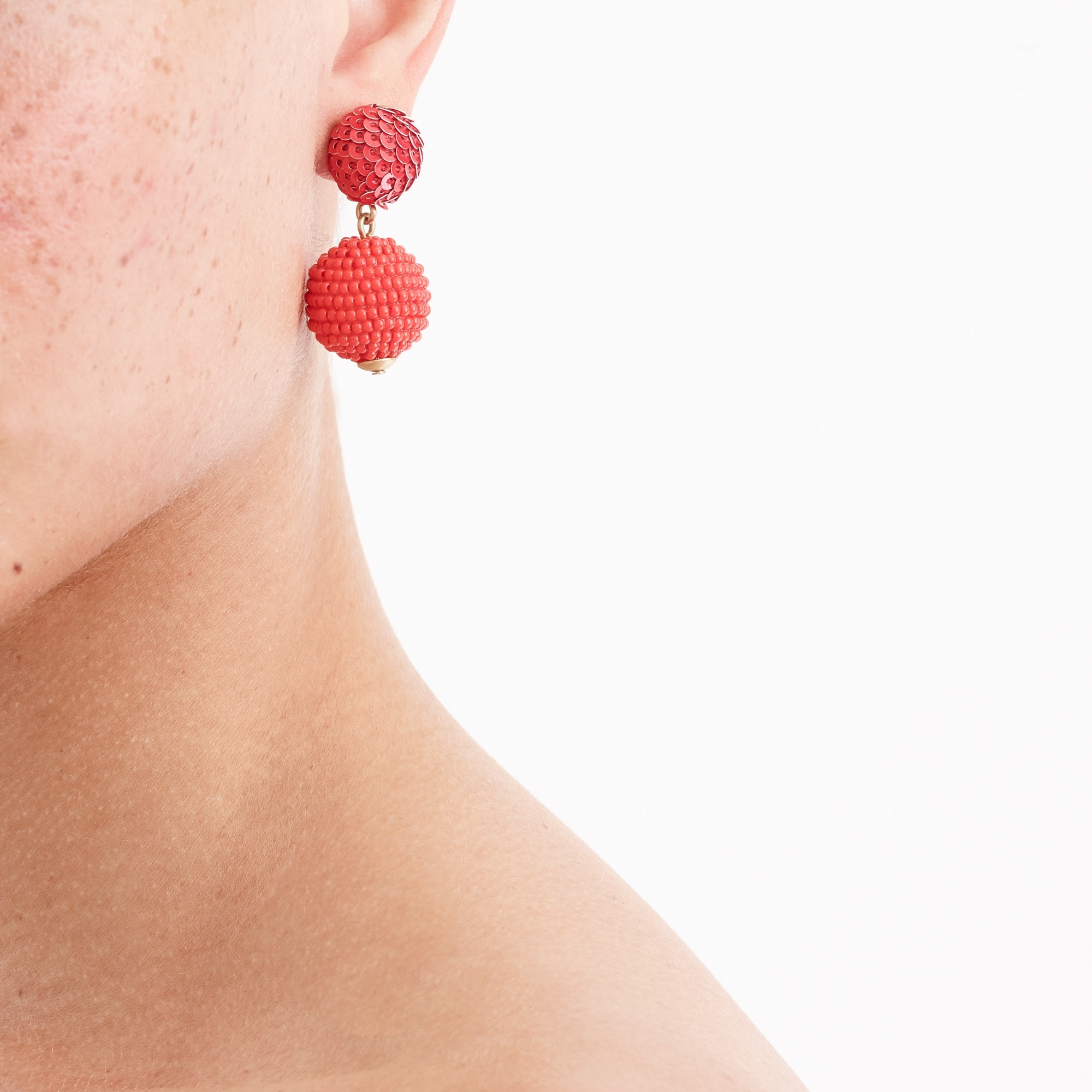 Sequin and bead ball-drop earrings