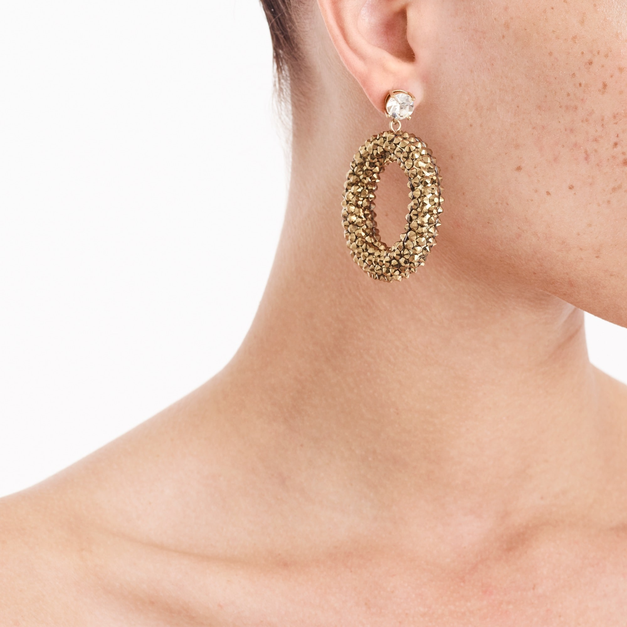 Image 2 for Sparkle drop hoop earrings