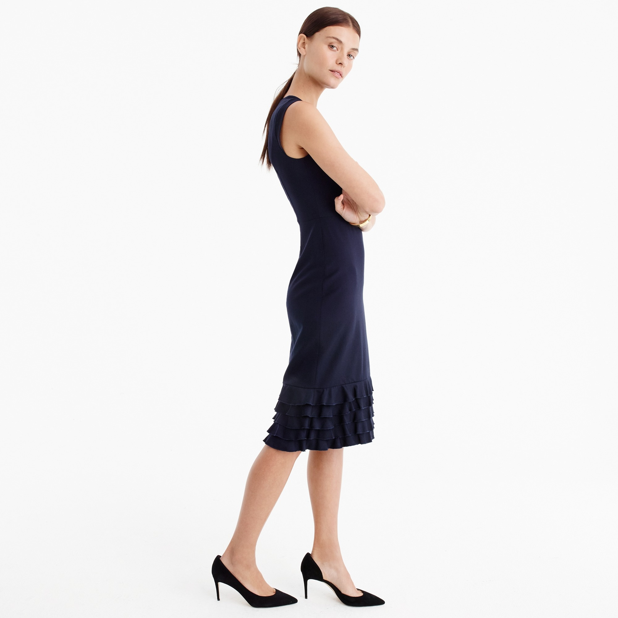 Ruffle-hem sheath dress in Super 120s wool women suiting c