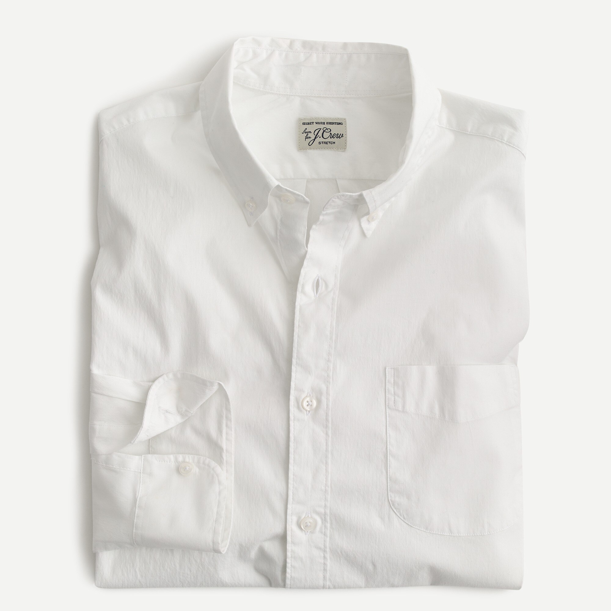 Stretch Secret Wash shirt in white poplin