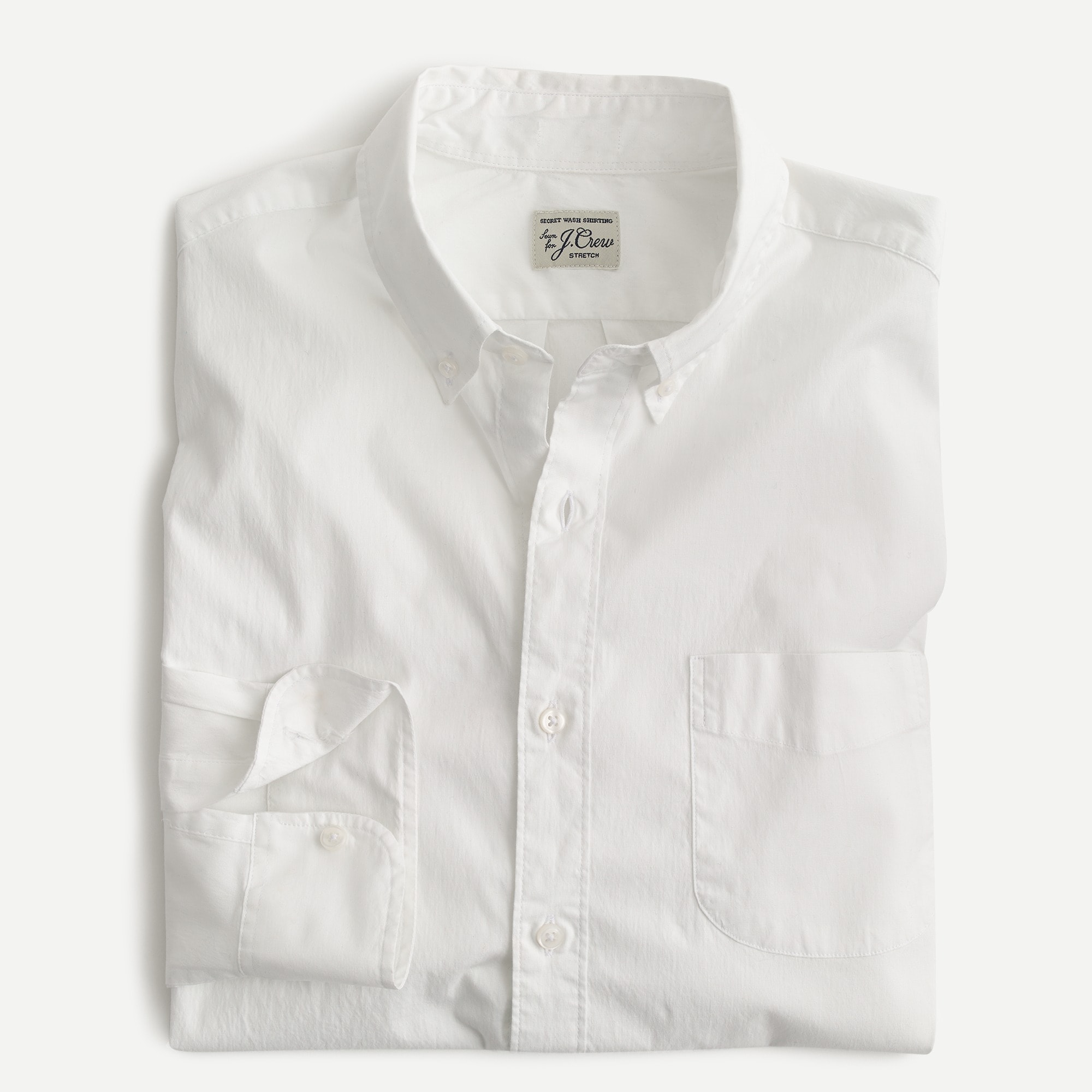 mens Stretch Secret Wash shirt in white poplin