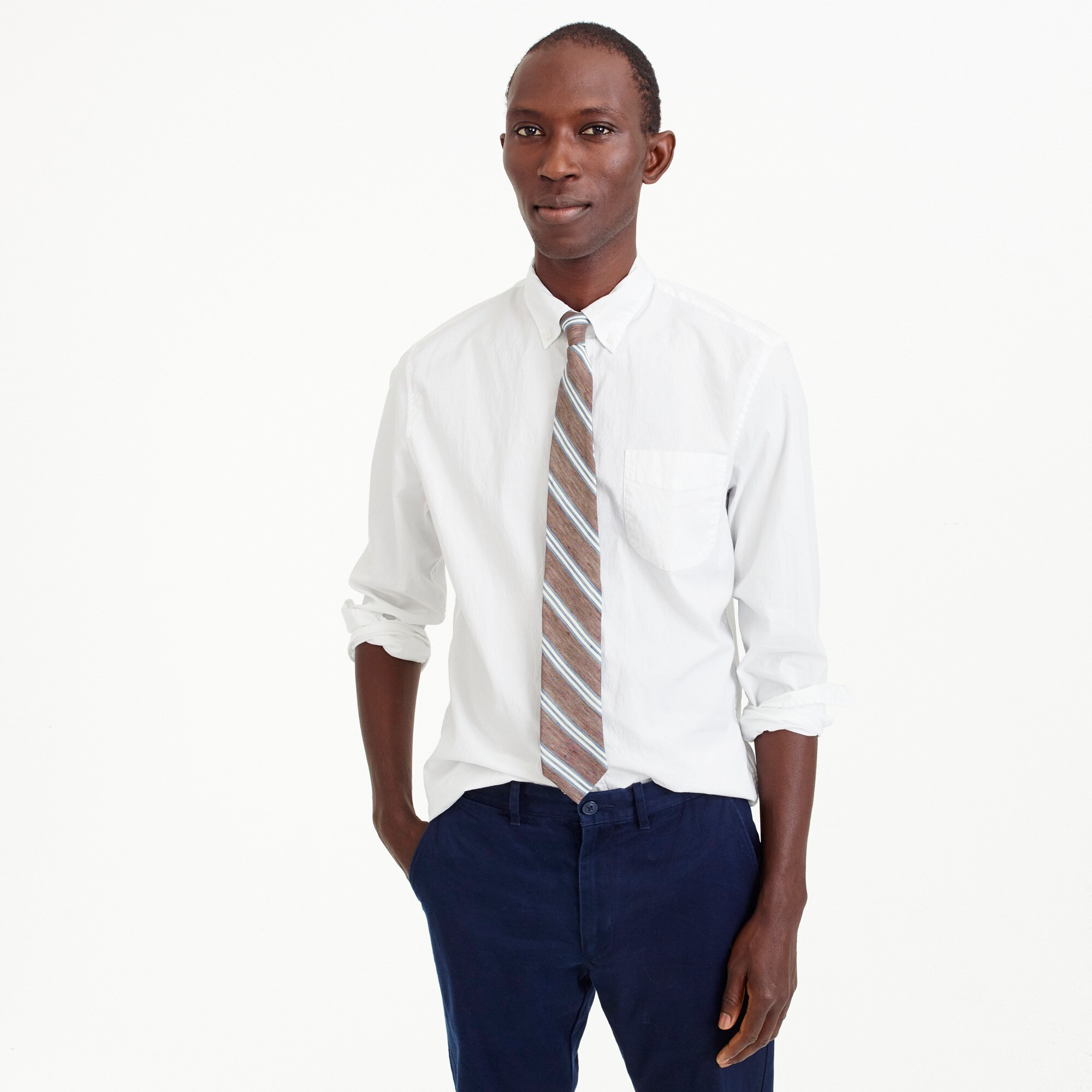 mens Tall stretch Secret Wash shirt in white poplin