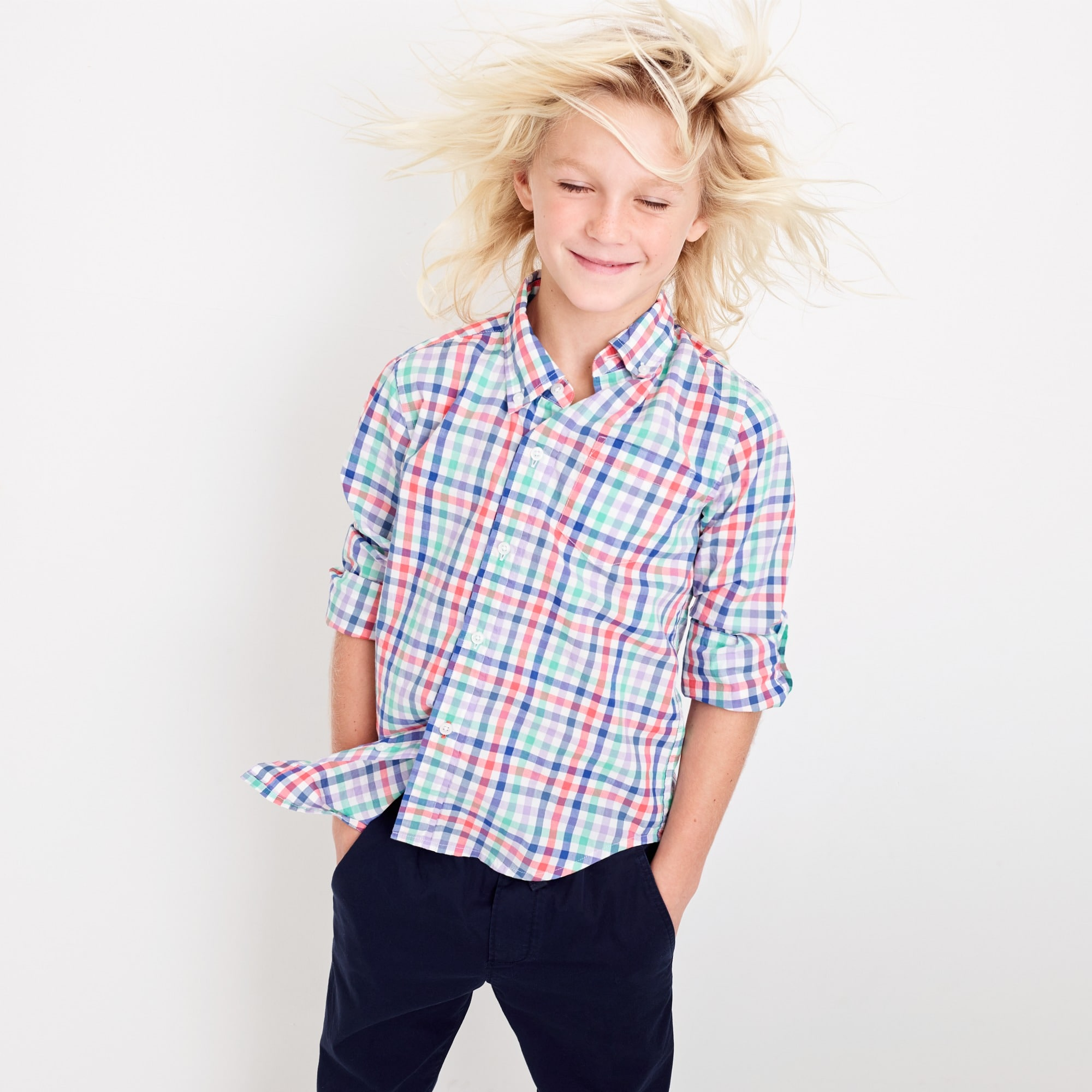 Image 1 for Kids' Secret Wash shirt in rainbow plaid